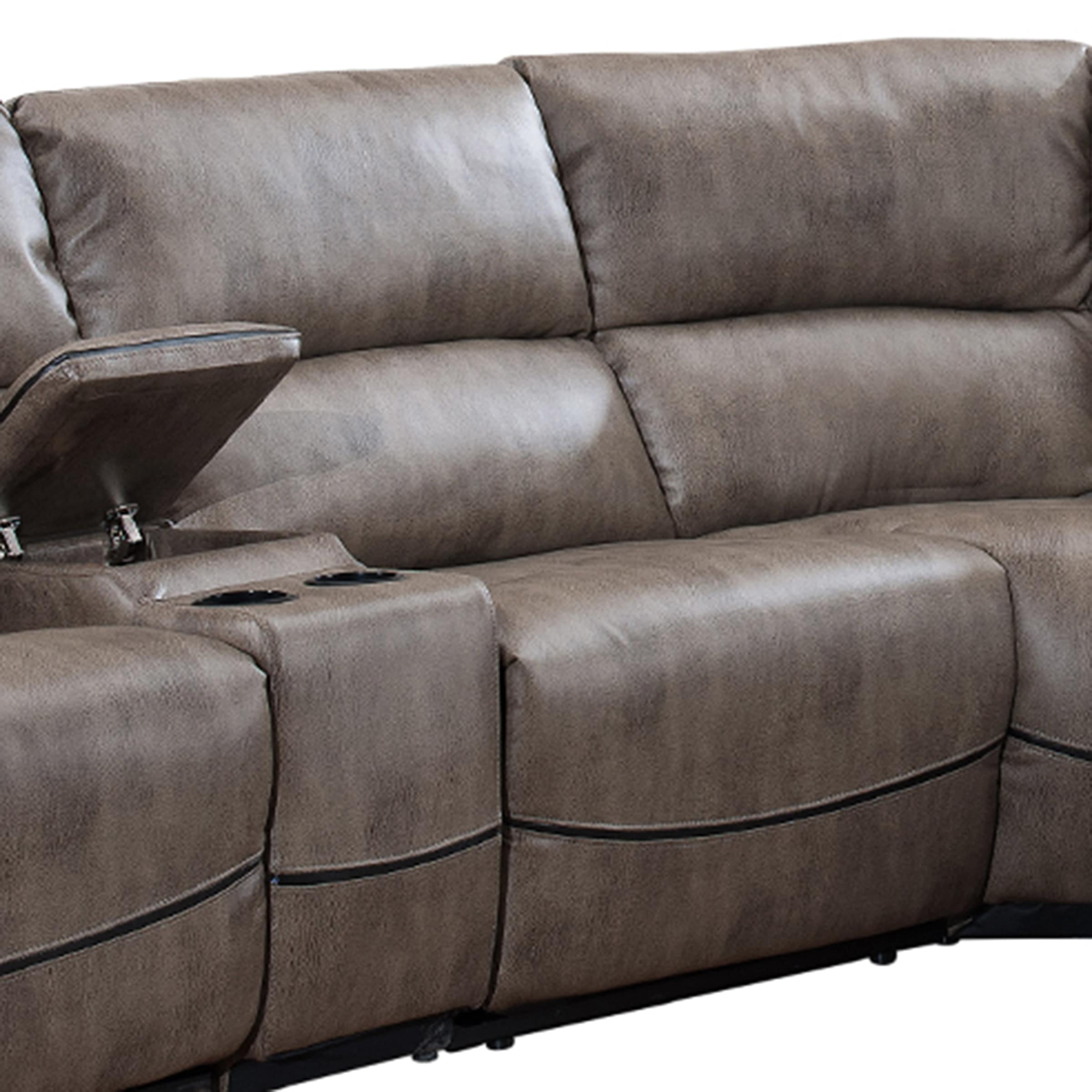 Donovan 6 Piece Sectional Sofa With Power Reclining Seats And  ~ Sofa Recliner With Console