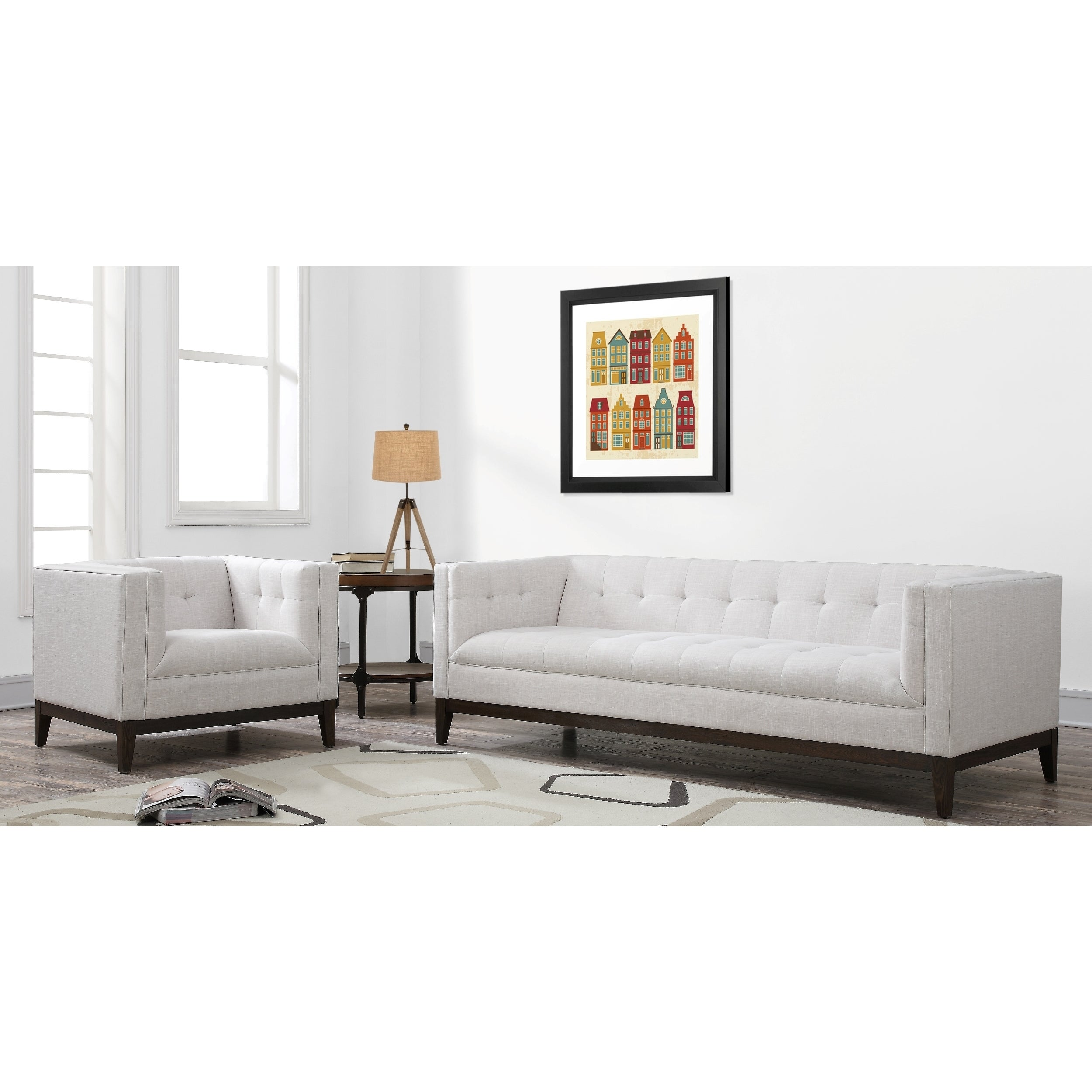 Shop Gavin Mid-century Beige Linen Living Room Set - Free Shipping ...