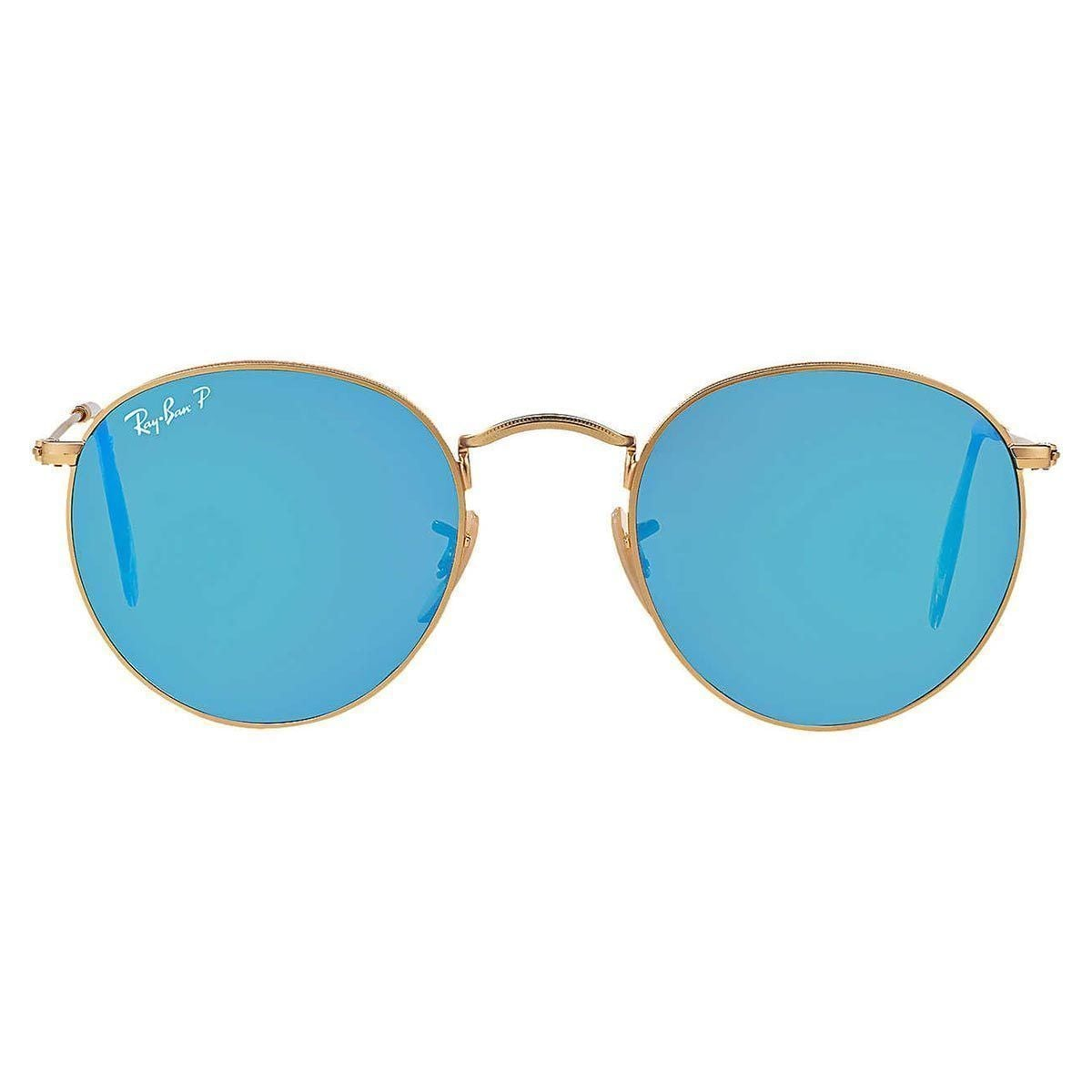 550d0cb430 Shop Ray-Ban RB3447 112 4L Unisex Round Gold Frame Polarized Blue Flash  Lens Sunglasses - Free Shipping Today - Overstock - 15002896