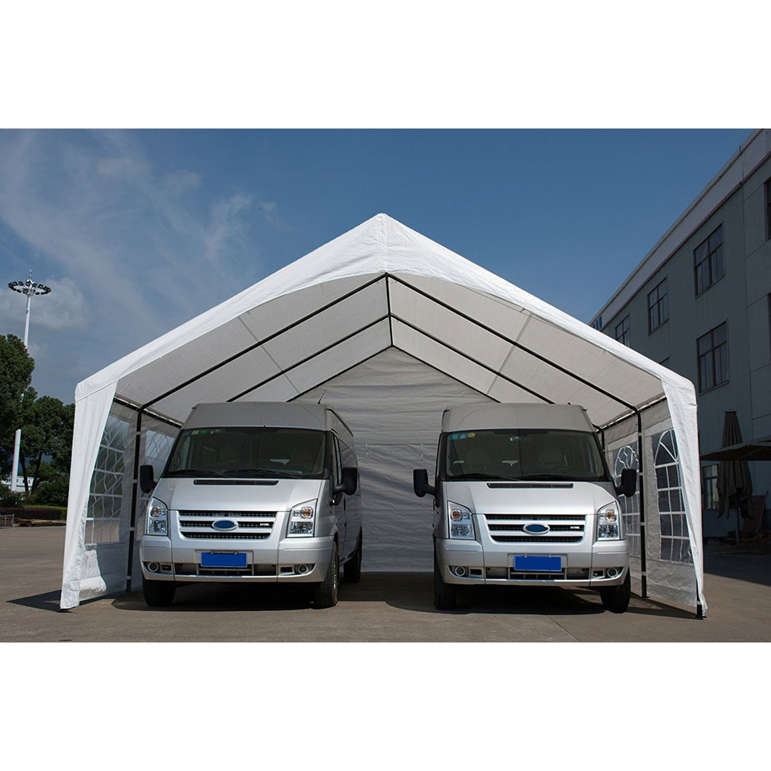 Abba Patio 20 x 20 feet Heavy Duty Domain Carport Car Canopy Storage with Steel Legs and Sidewalls White - Free Shipping Today - Overstock.com - 21501900  sc 1 st  Overstock.com & Abba Patio 20 x 20 feet Heavy Duty Domain Carport Car Canopy ...