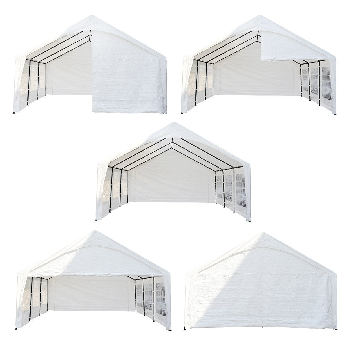 Abba Patio 20 x 20 feet Heavy Duty Domain Carport, Car Canopy Storage with  Steel Legs and Sidewalls, White