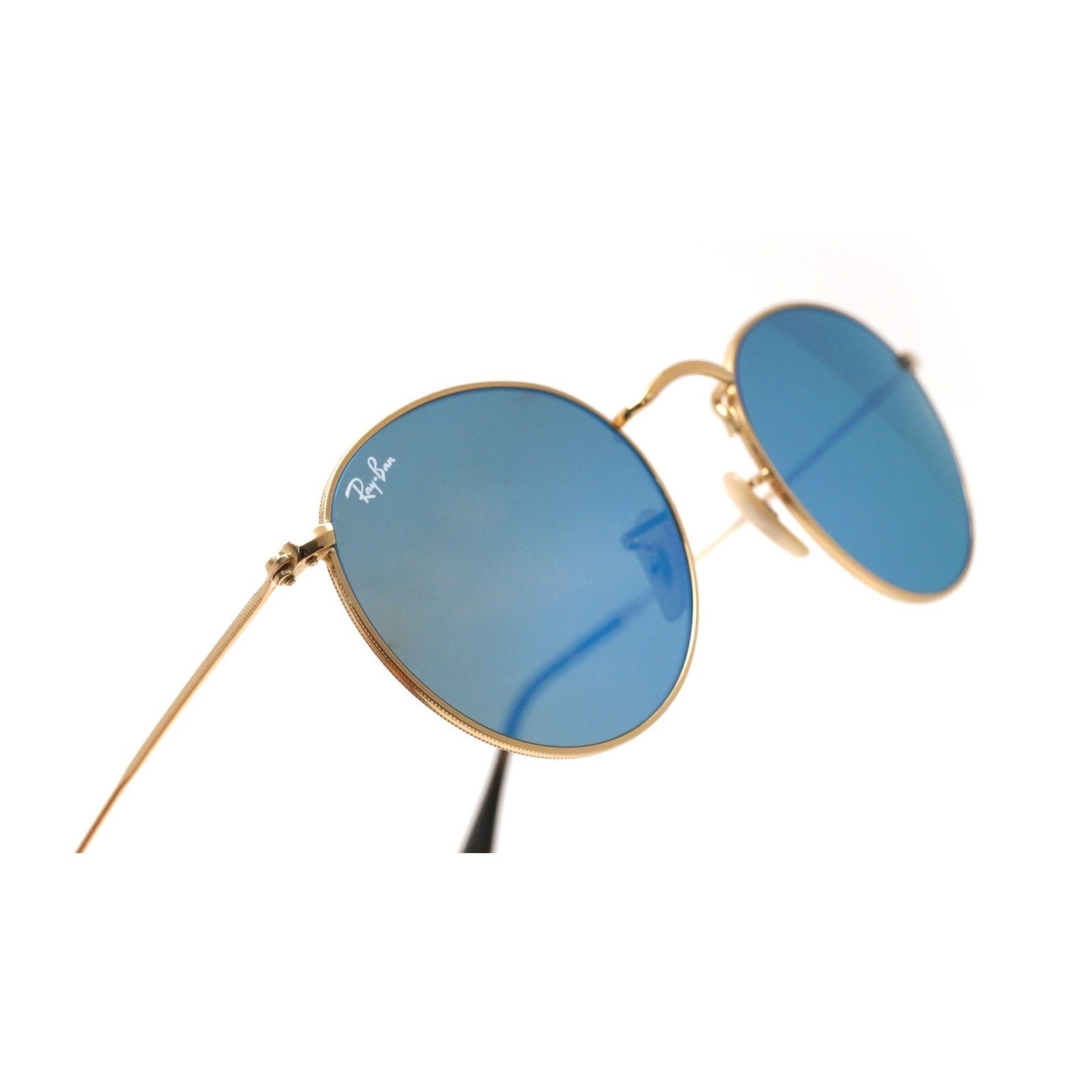 7464a9be6a Shop Ray-Ban RB3447N 001 9O Unisex Round Flat Gold Frame Light Blue  Gradient Flash Lens Sunglasses - Free Shipping Today - Overstock - 15002964