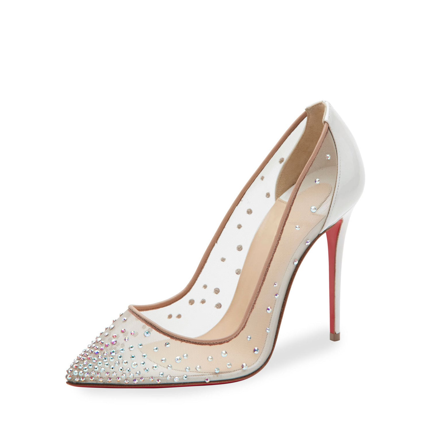 20a6ee16b Shop Christian Louboutin Follies Strass 100 Nude Swarovski Elements Pumps -  Free Shipping Today - Overstock - 15003084