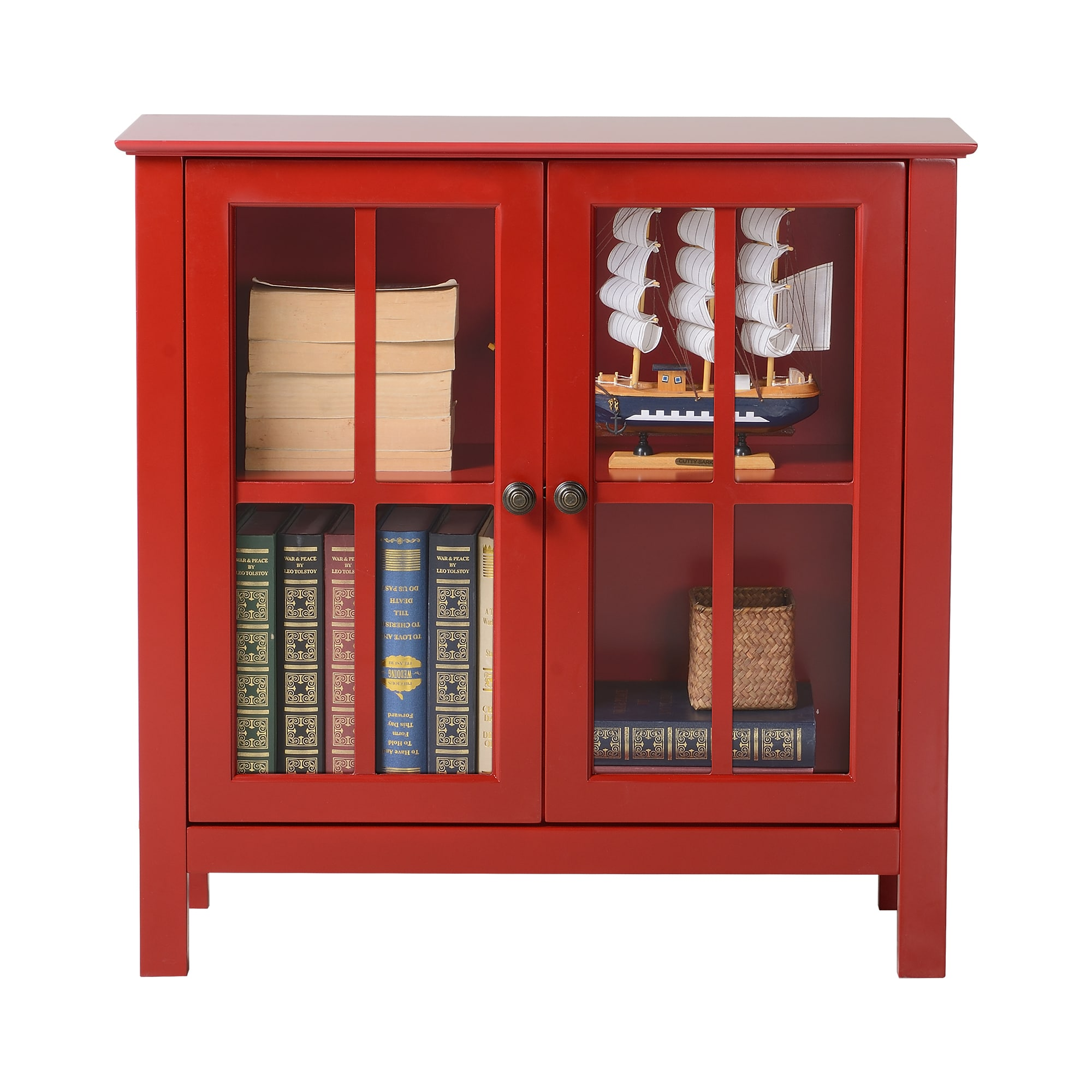 Merveilleux Shop OS Home And Office Red Glass Door Accent And Display Cabinet   On Sale    Free Shipping Today   Overstock.com   15003121