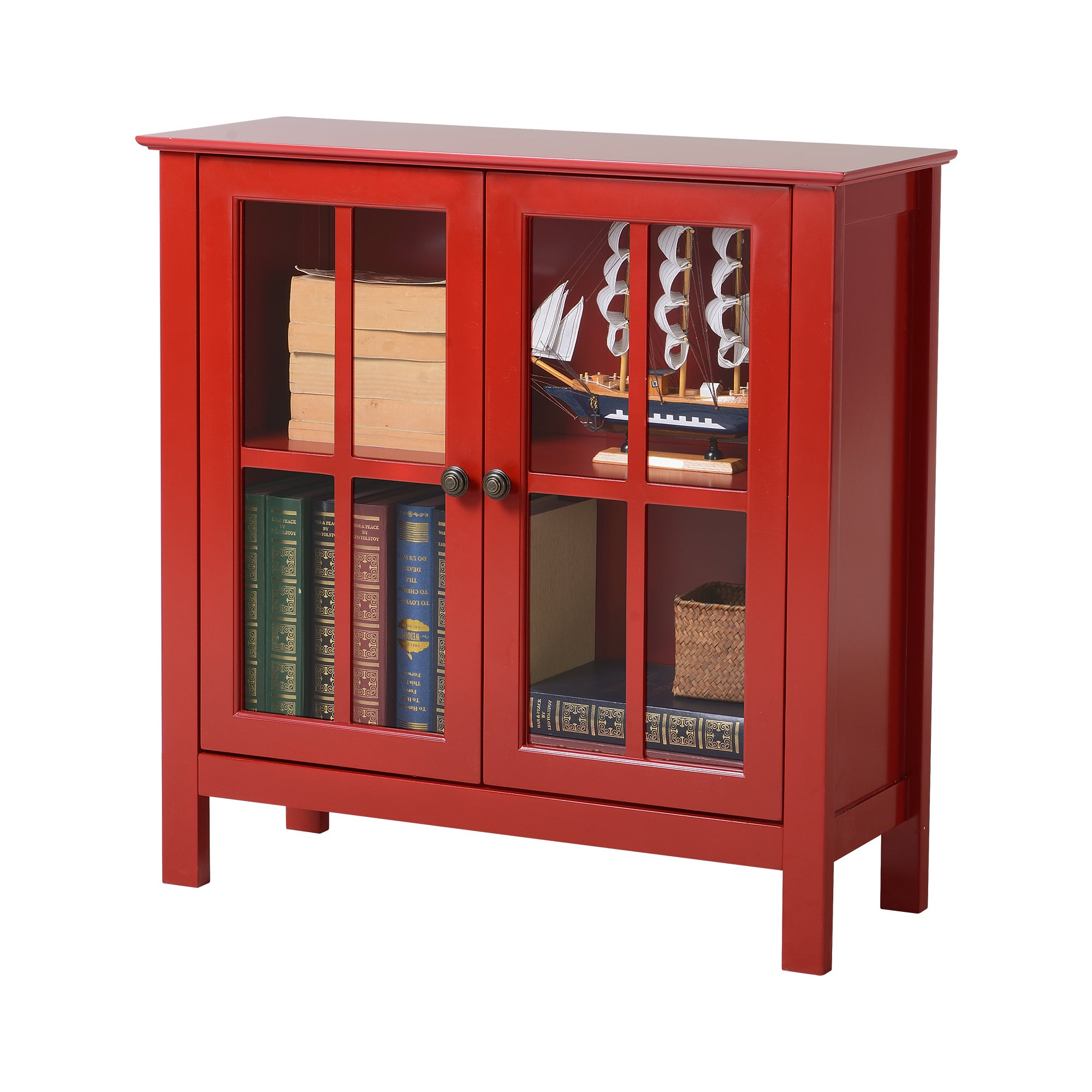 Os Home And Office Red Glass Door Accent Display Cabinet Free Today Com 15003121