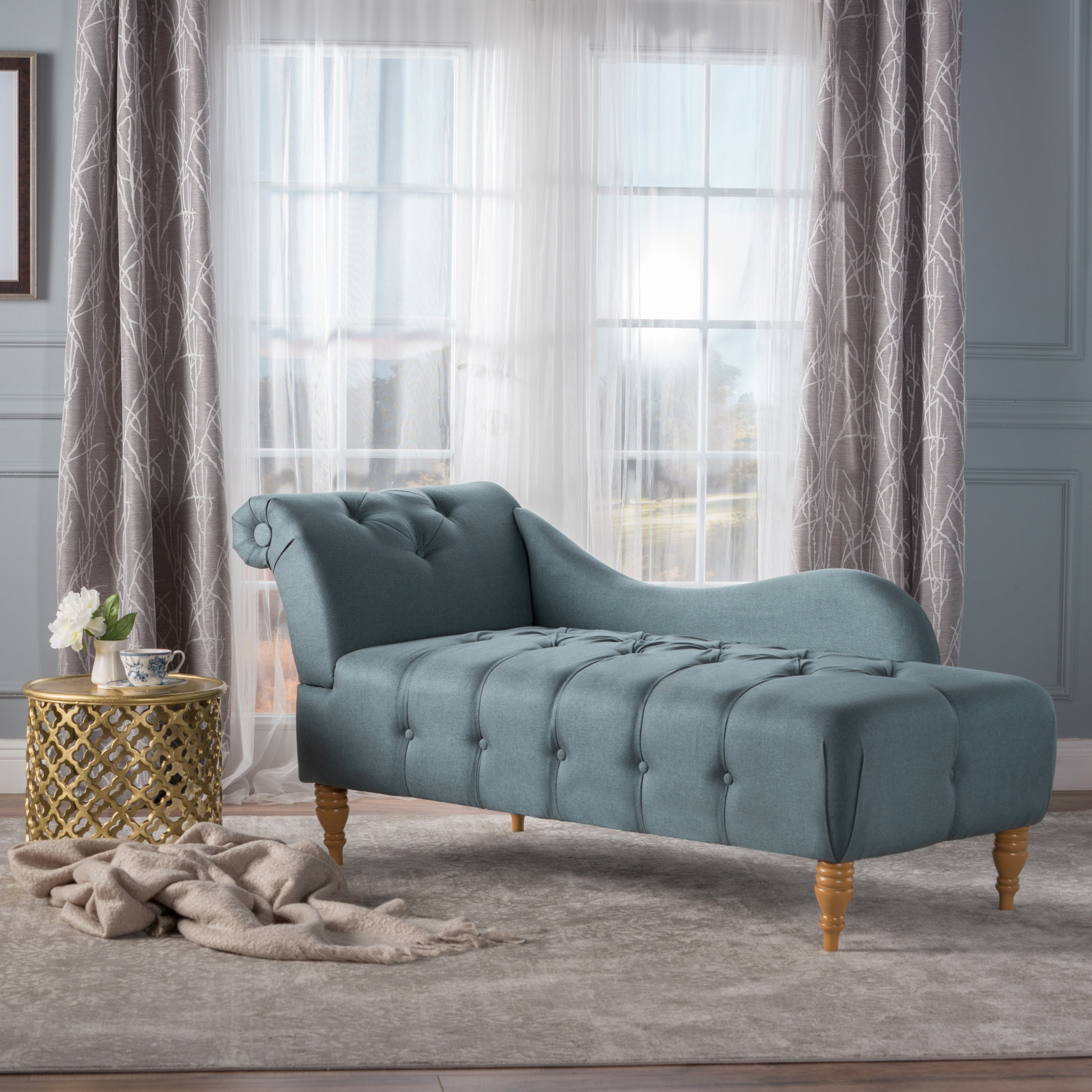 Shop Antonya Fabric Tufted Chaise Lounge By Christopher Knight Home   On  Sale   Free Shipping Today   Overstock.com   15004904