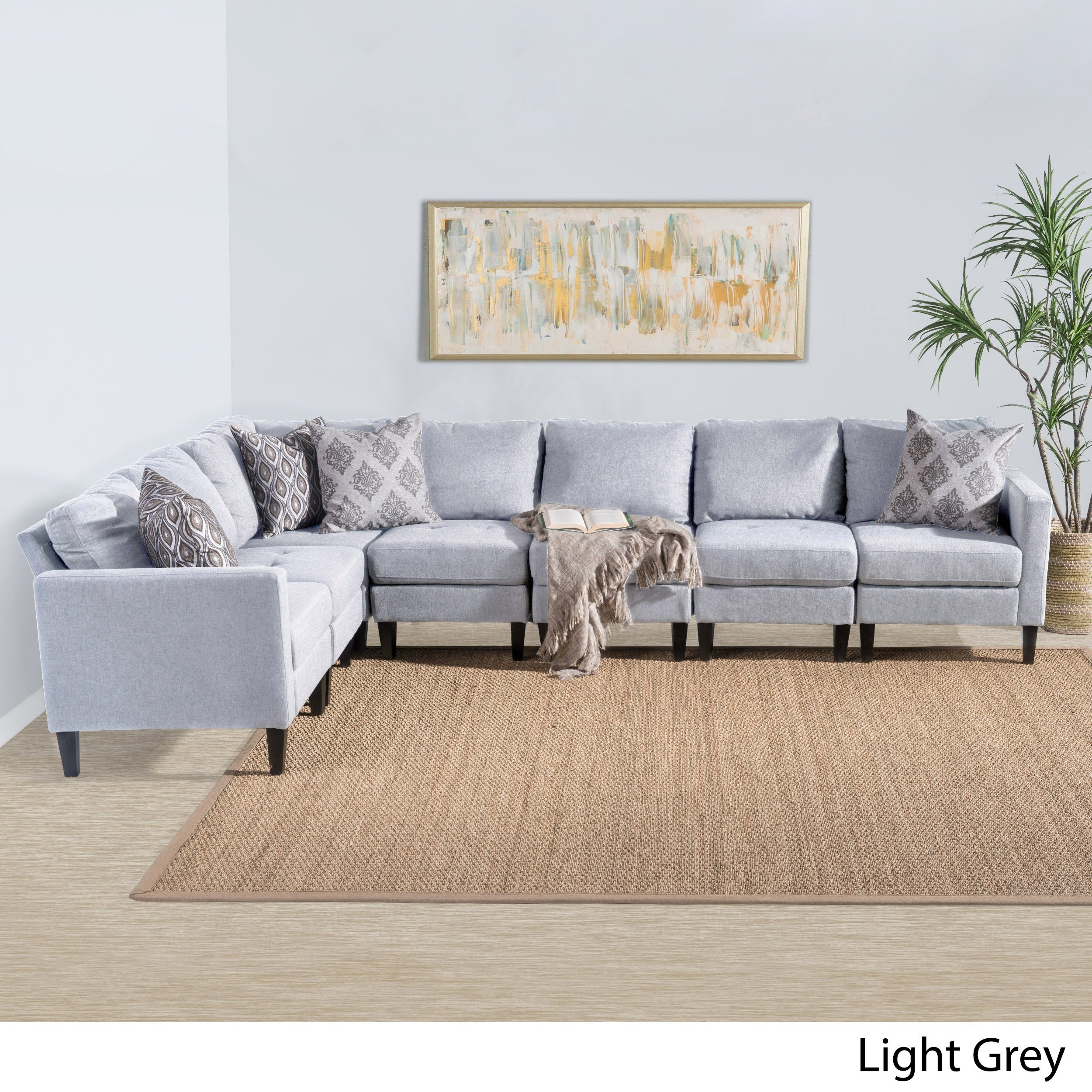 Shop zahra 7 piece fabric sectional sofa set by christopher knight home on sale free shipping today overstock com 15004909