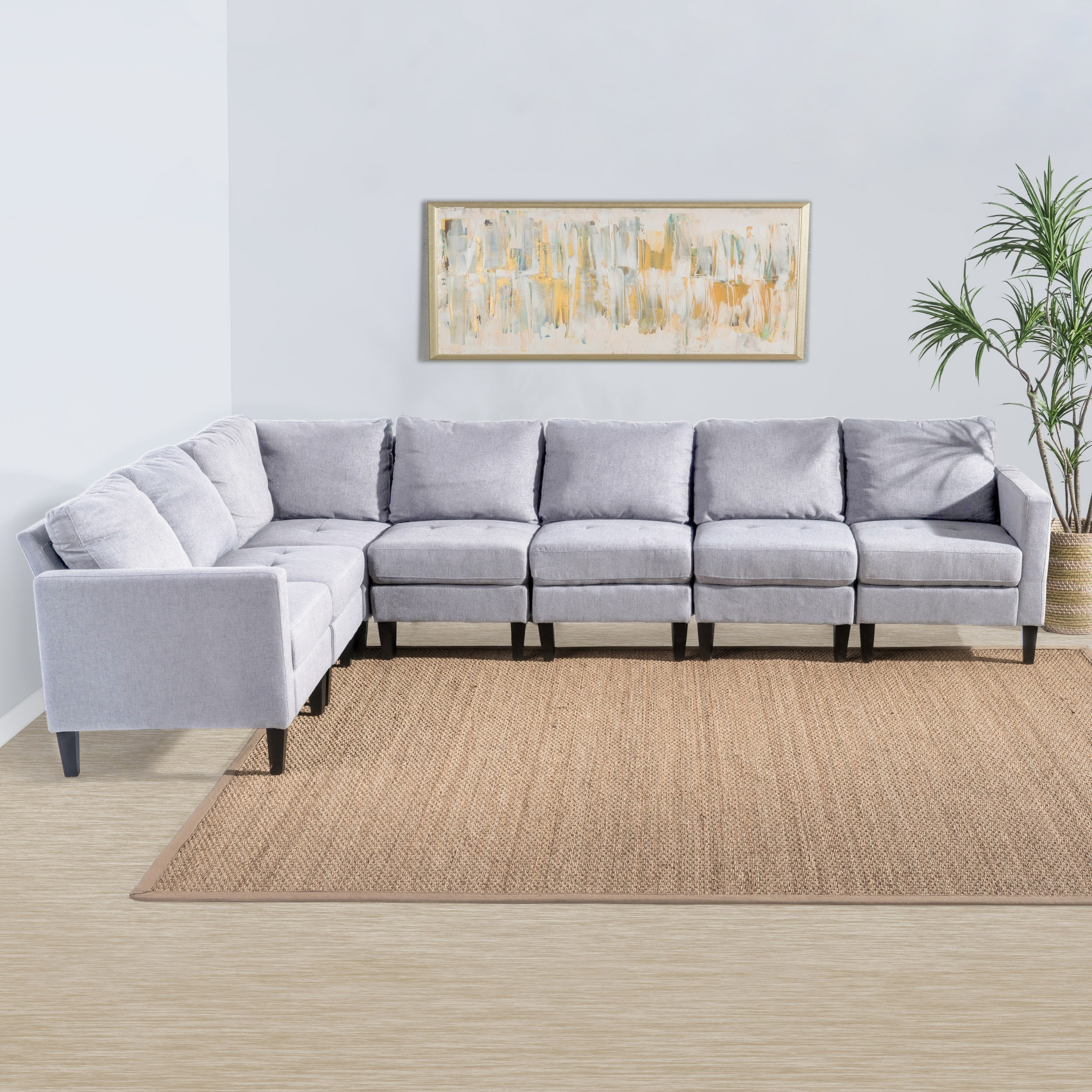 Shop Zahra 7-piece Fabric Sectional Sofa Set by Christopher Knight ...