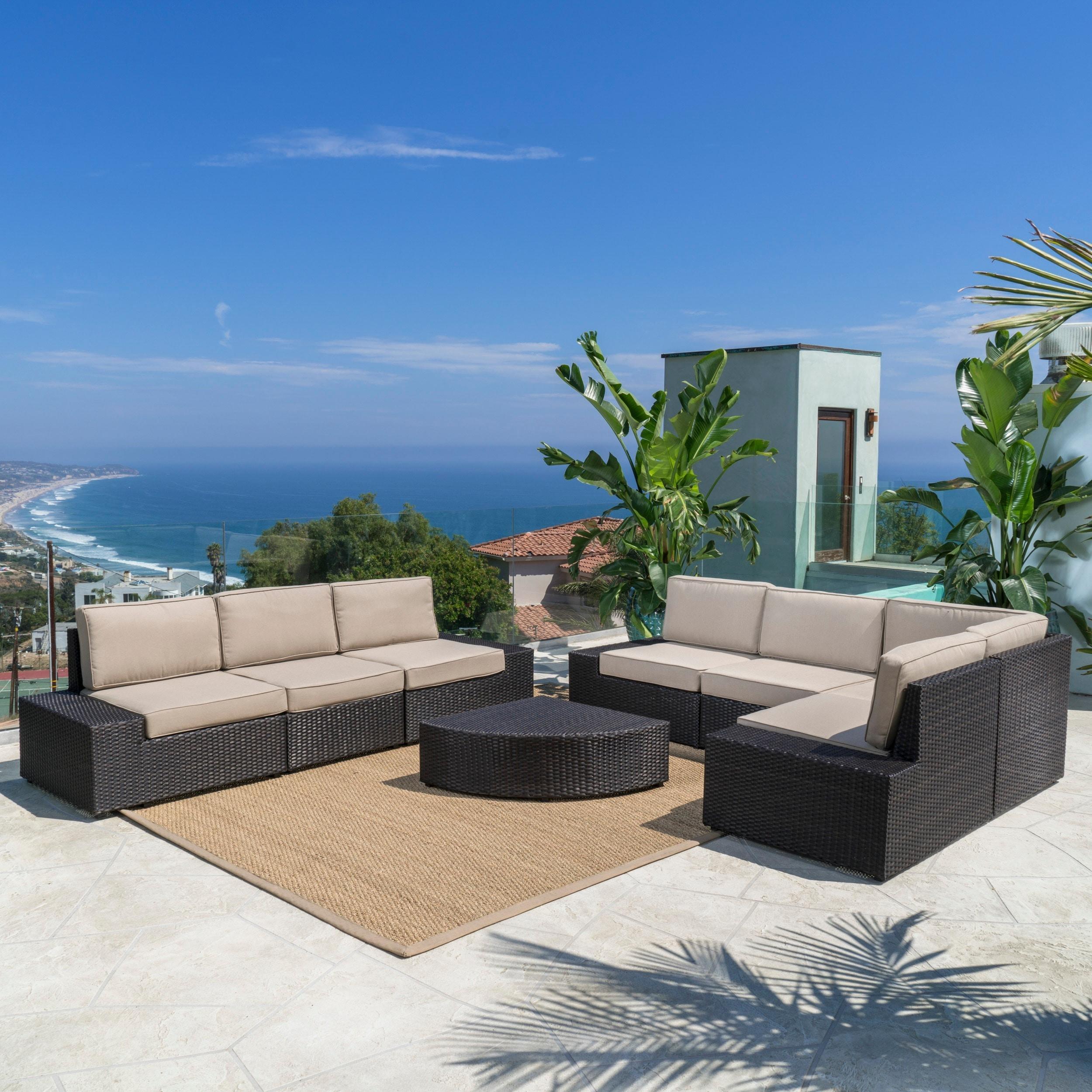 Shop Santa Cruz Outdoor 8 Piece Wicker Sectional Sofa Set With