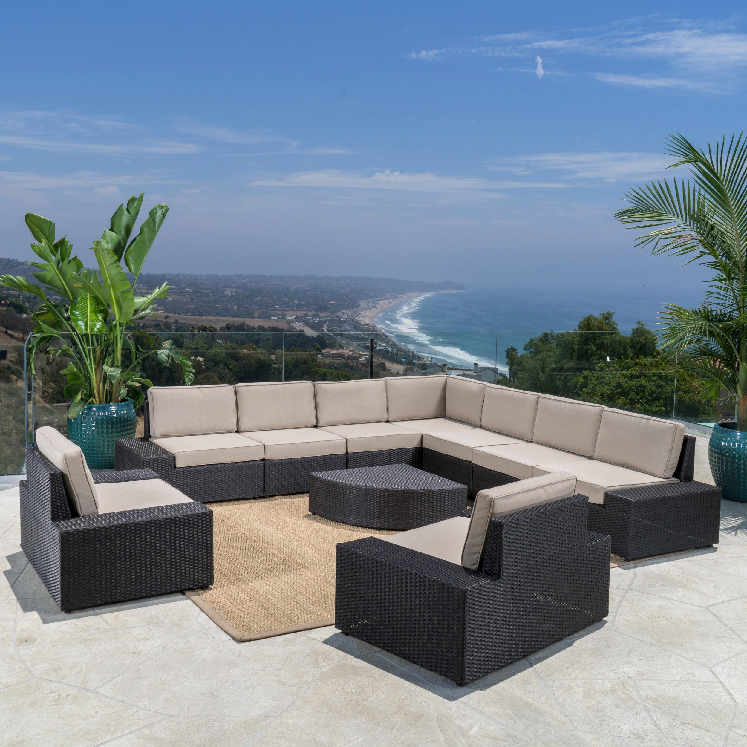 Shop Santa Cruz Outdoor 10 Piece Wicker Sectional Sofa Set With Cushions By  Christopher Knight Home   On Sale   Free Shipping Today   Overstock.com    ...