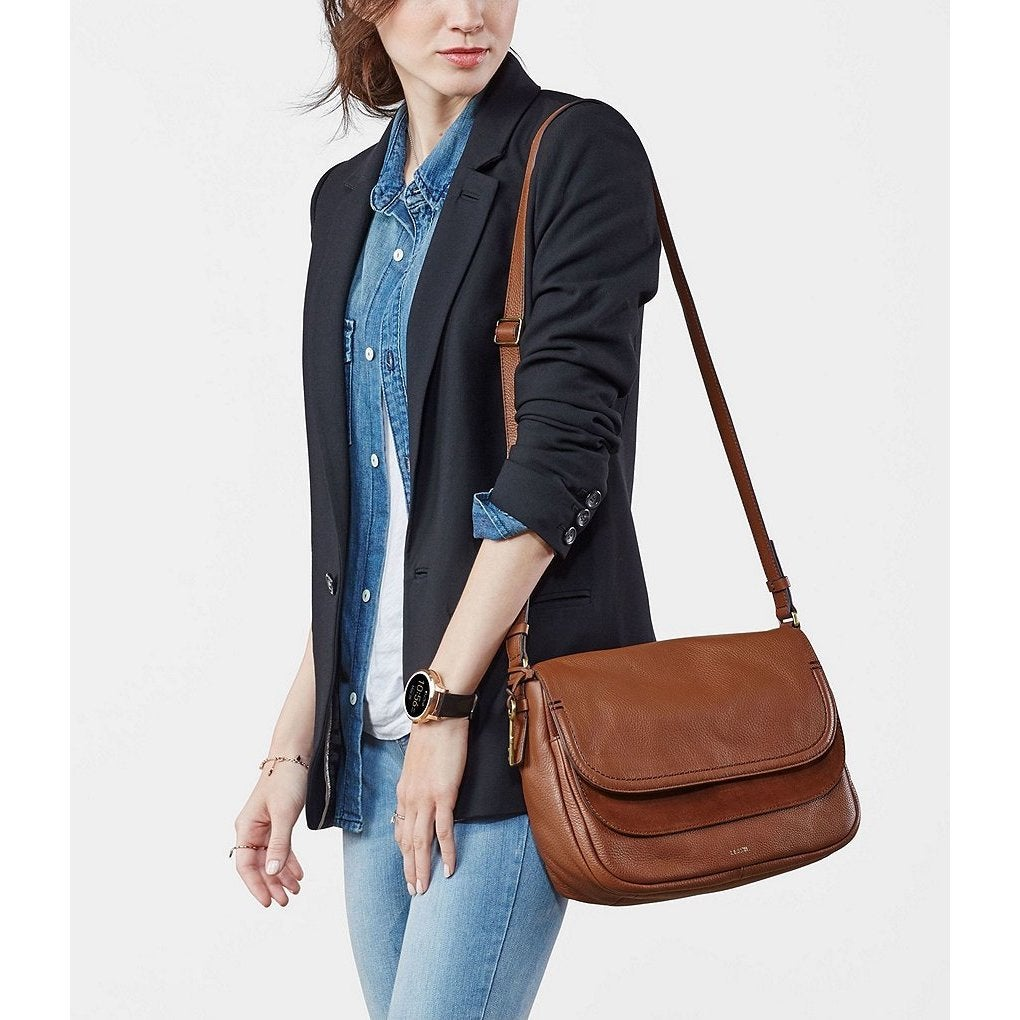 9ad9f464e59c Shop Fossil Peyton Brown Leather Large Double-flap Crossbody Handbag -  Ships To Canada - Overstock - 15008185
