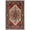 ecarpetgallery Hand-Knotted Serapi Heritage Ivory, Red Wool Rug (5'0 x 8'0 )