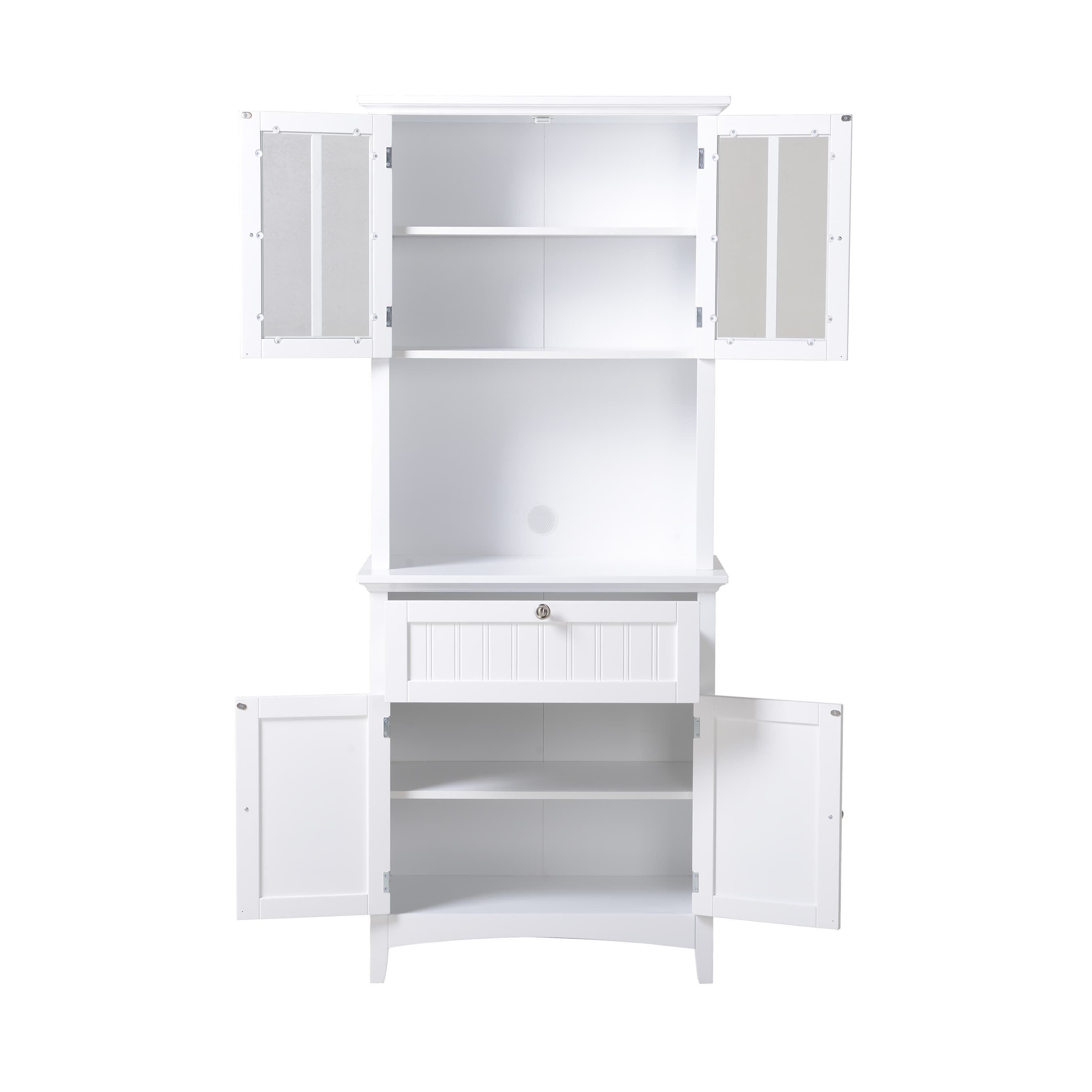 Shop OS Home And Office Buffet And Hutch With Framed Glass Doors And Drawer    White   Free Shipping Today   Overstock.com   15029056