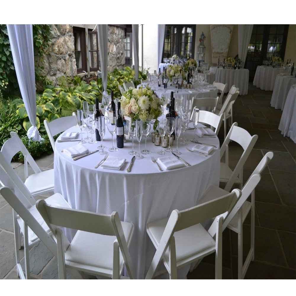90 Inch Round Polyester White Tablecloths (Pack Of 2)   Free Shipping On  Orders Over $45   Overstock   21528164