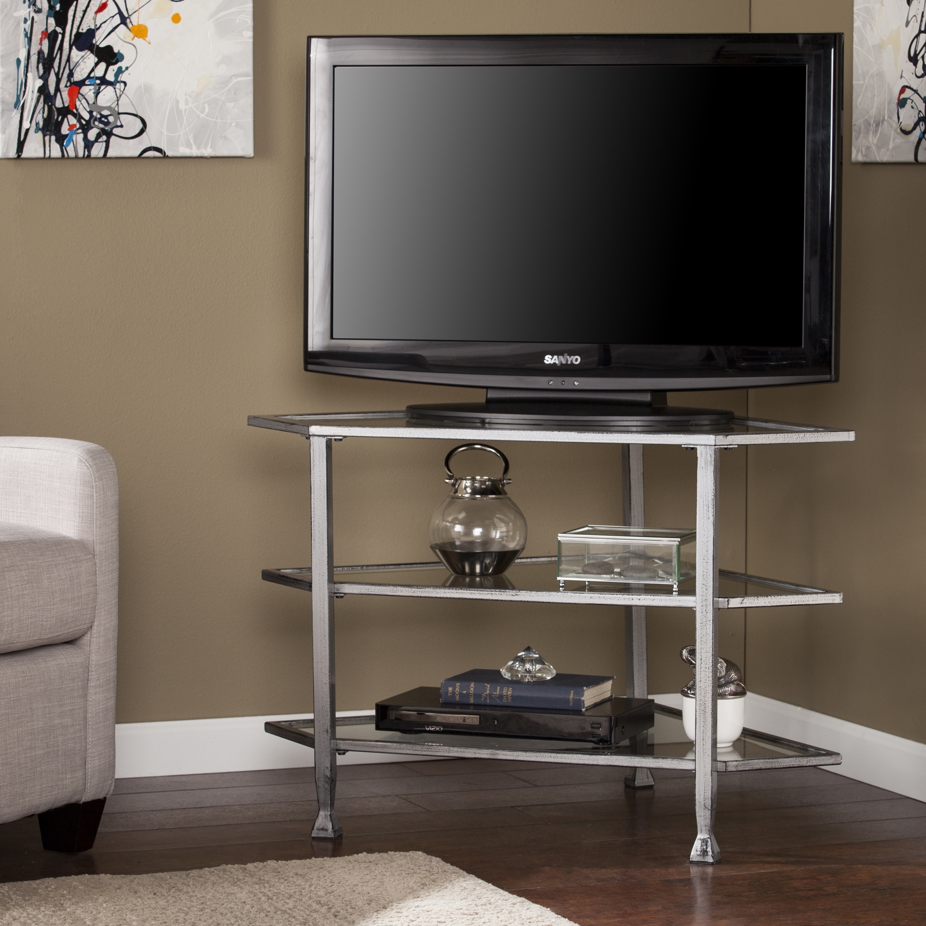 Harper Blvd Jensen Metal Gl Corner Tv Stand Distressed Silver Free Shipping Today 15033349