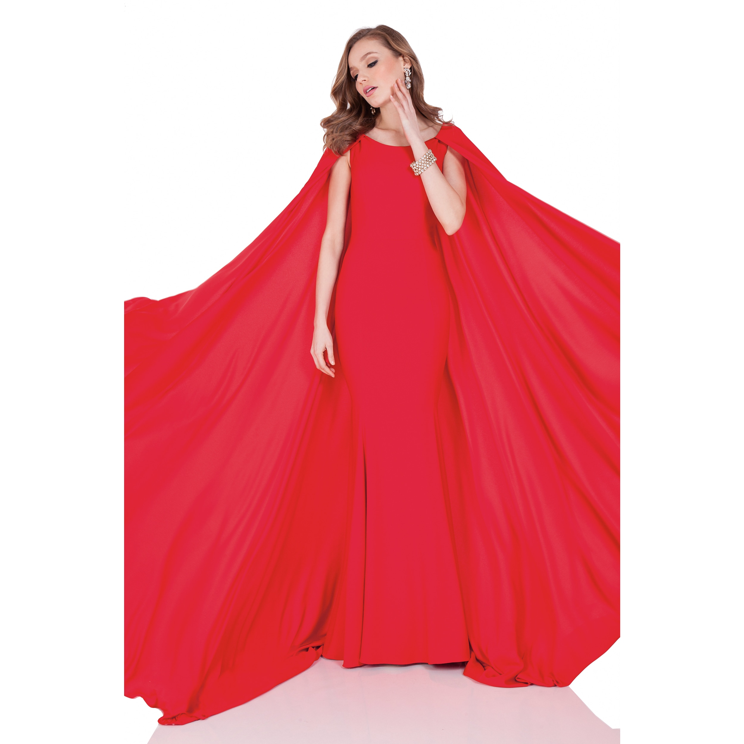 Shop Terani Couture Red Satin Crepe Back Evening Gown With Cape ...