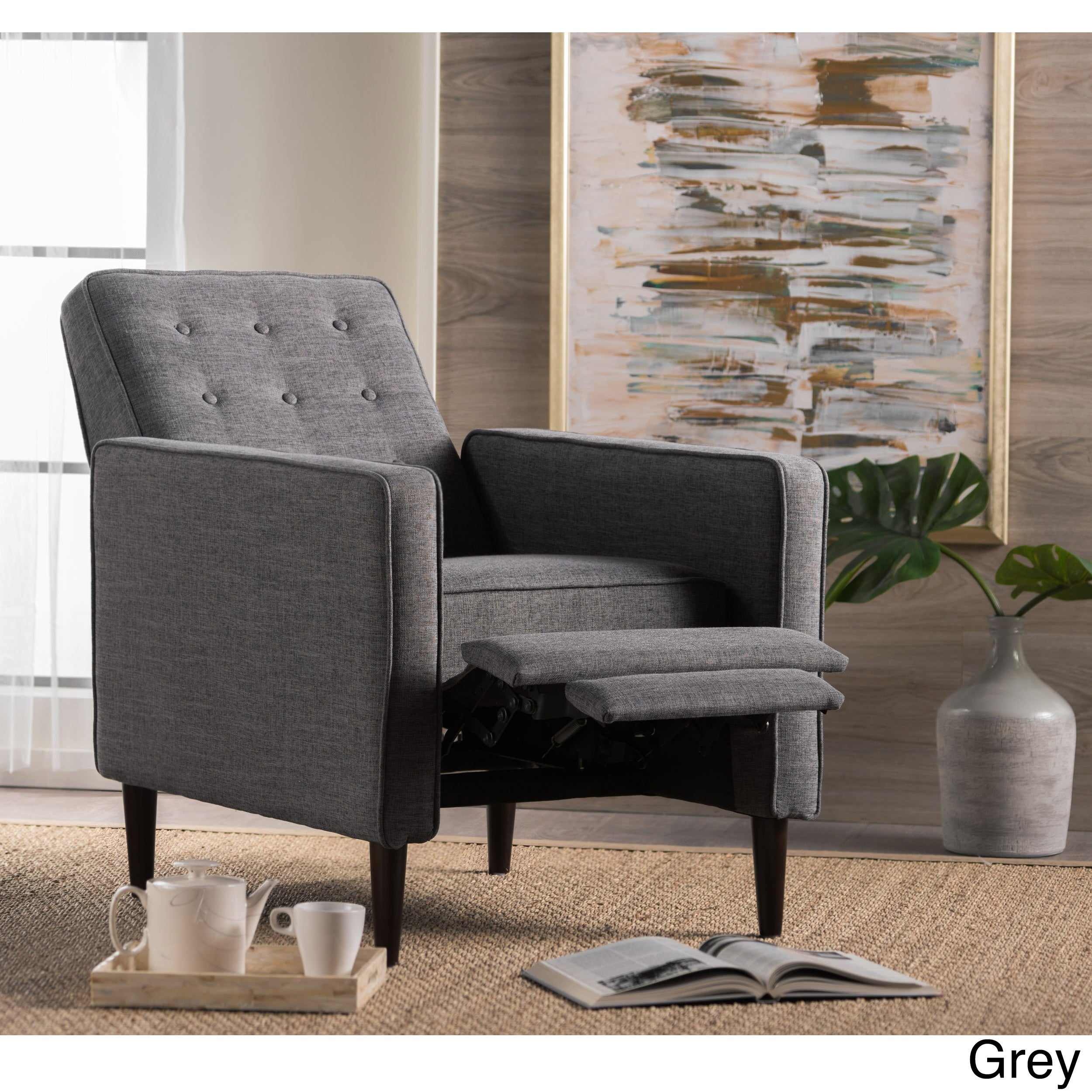 Shop Mervynn Mid Century Button Tufted Fabric Recliner Club Chair By  Christopher Knight Home   On Sale   Free Shipping Today   Overstock.com    15037715