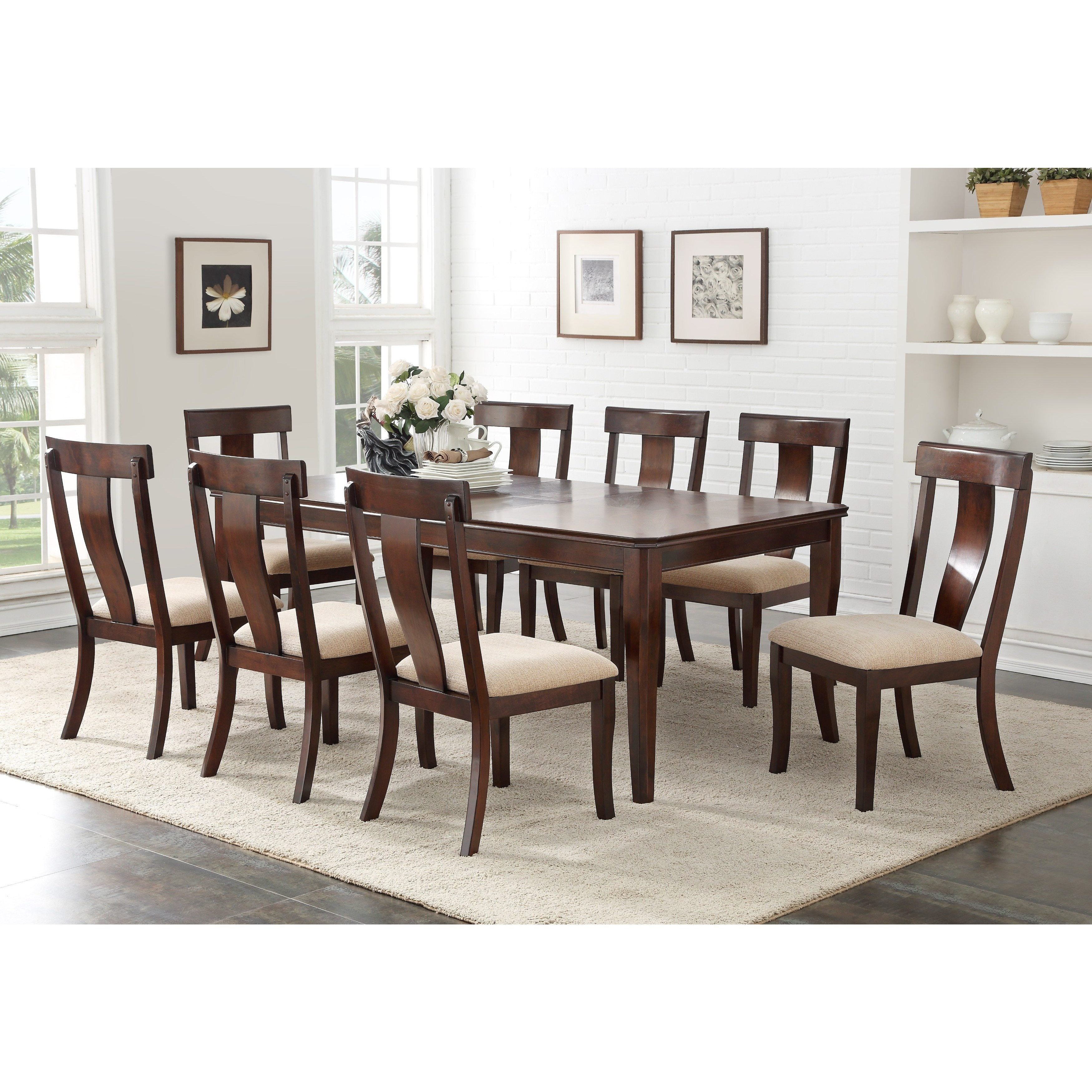 Cherry Wood Contemporary Rectangular Dinette Dining Room Table With 18 Inch Leaf Extension