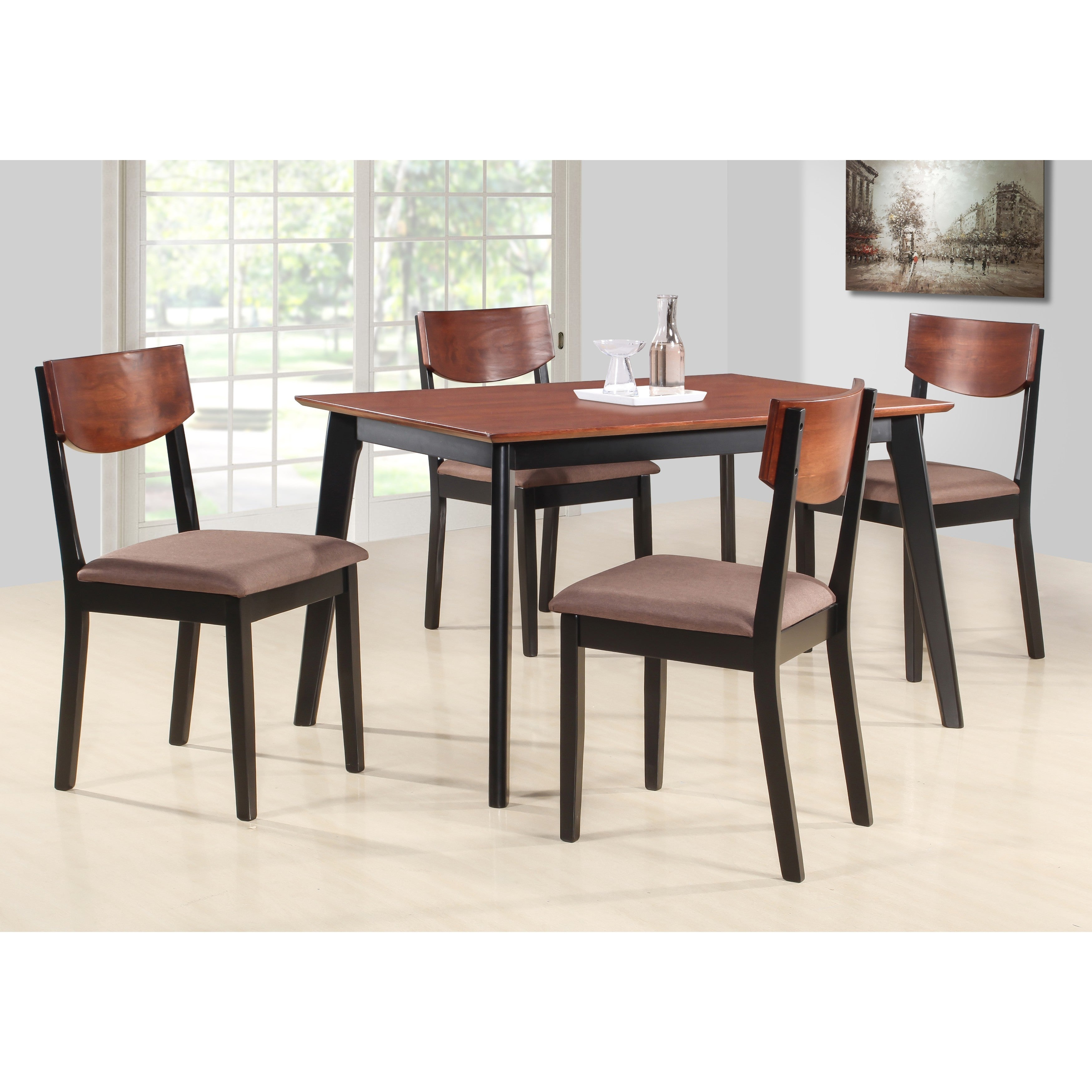 K And B Furniture Casey Brown Black Wood Dining Chairs Set Of 4 Free Shipping Today 15050737