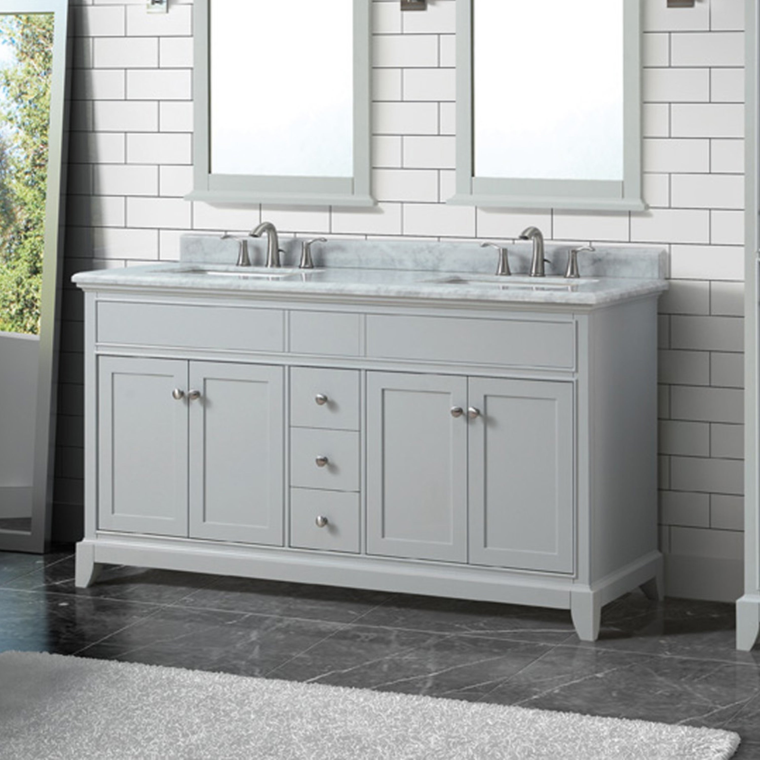 Azzuri Aurora 61 In Double Sink Vanity In Light Gray Finish With Carrara White Marble Top Overstock 15050757