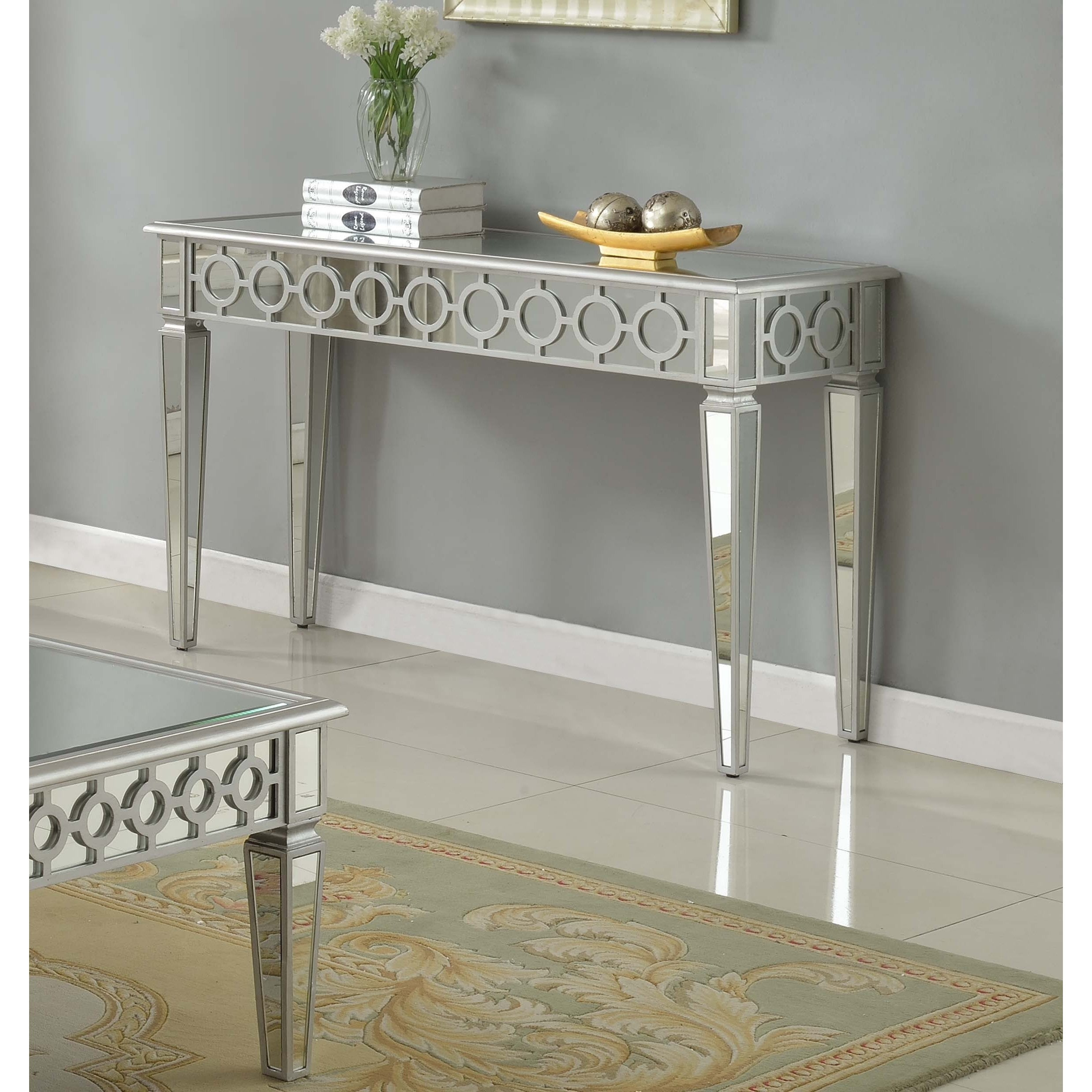 Shop best master furniture t1840 mirrored silver sofa table free shipping today overstock com 15050979