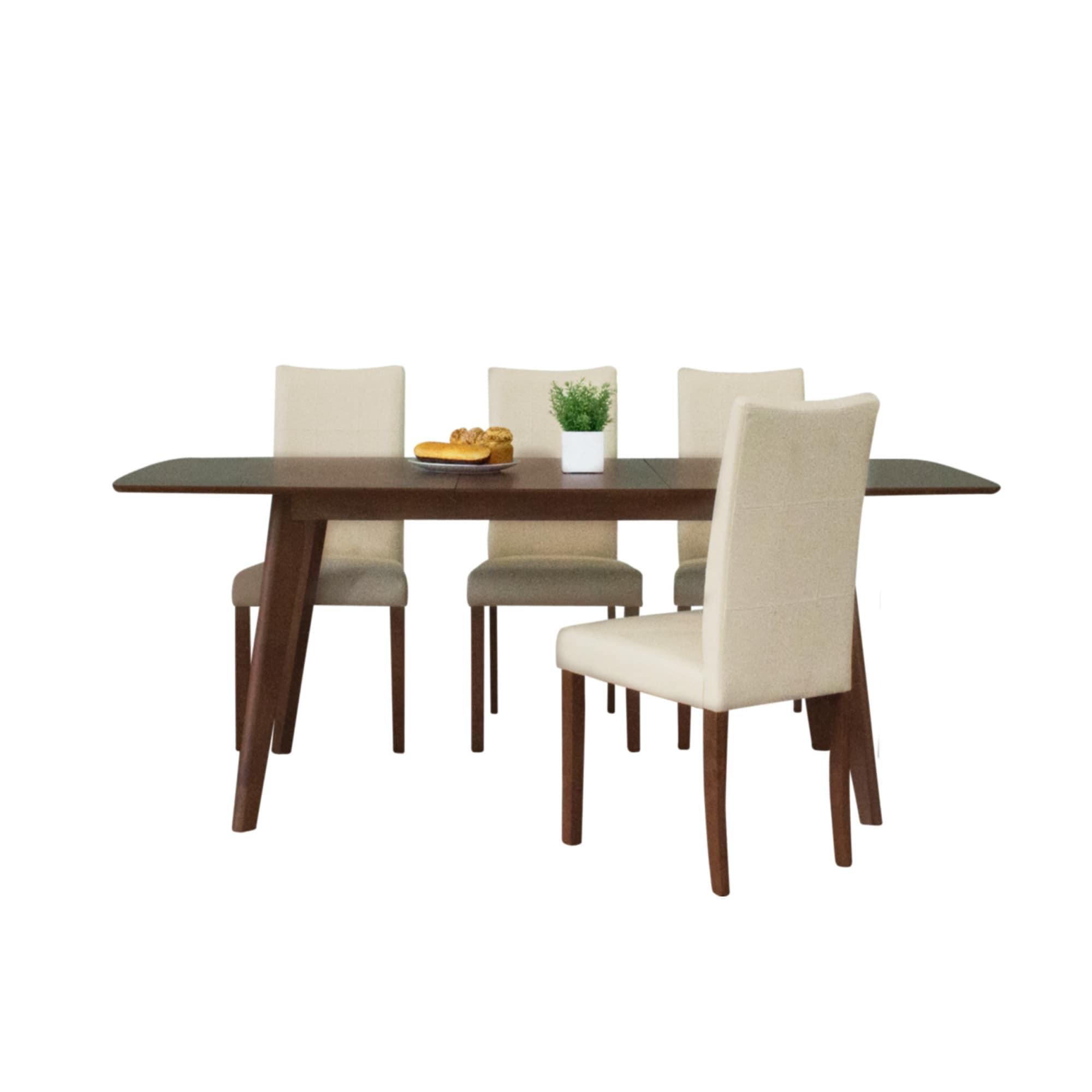 Tatiana Mid-Century 5 Piece Living Room Dining Set, Cream Leather ...