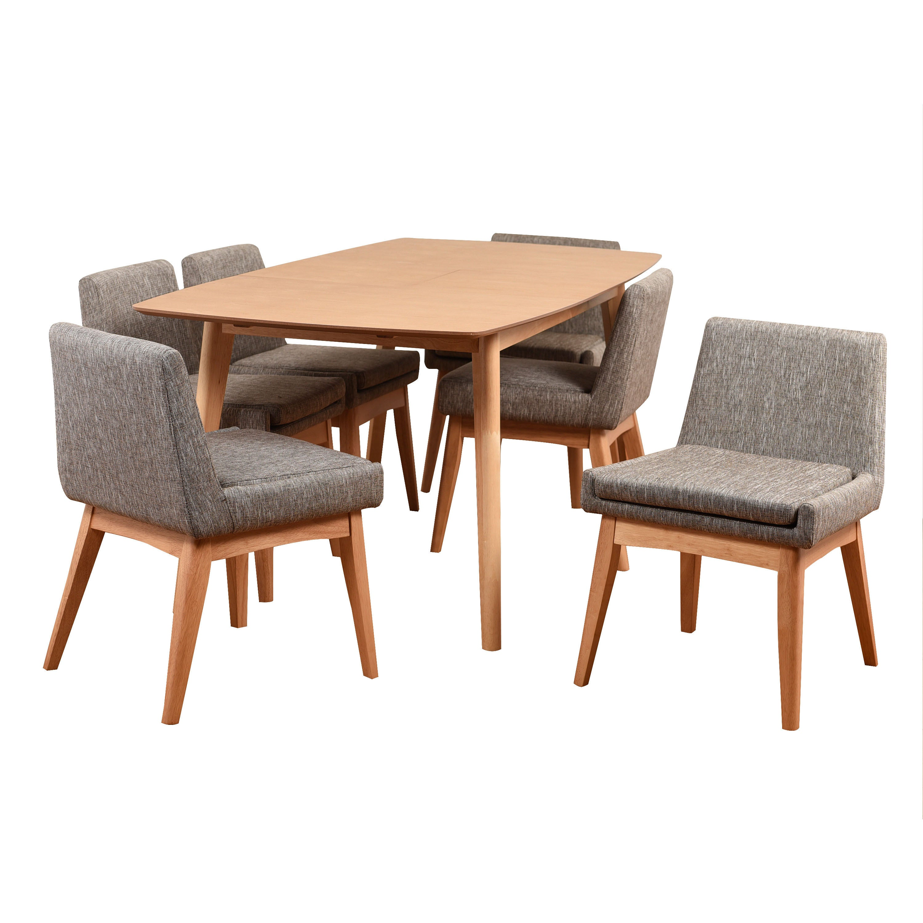 Shop Ruby Mid Century 7 Piece Natural Living Room Dining Set Coral