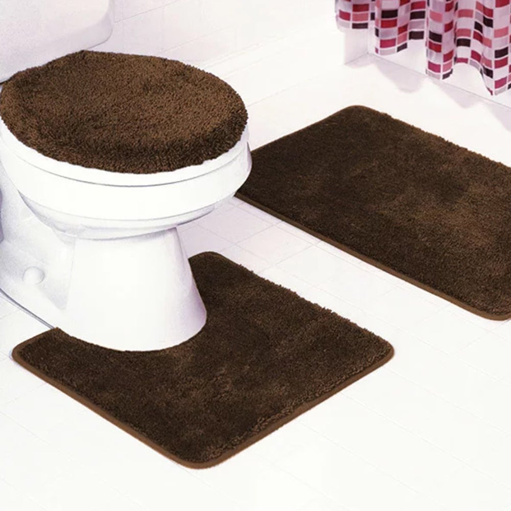 Shop Florence 3 Piece Bathroom Rug And Toilet Seat Cover Set