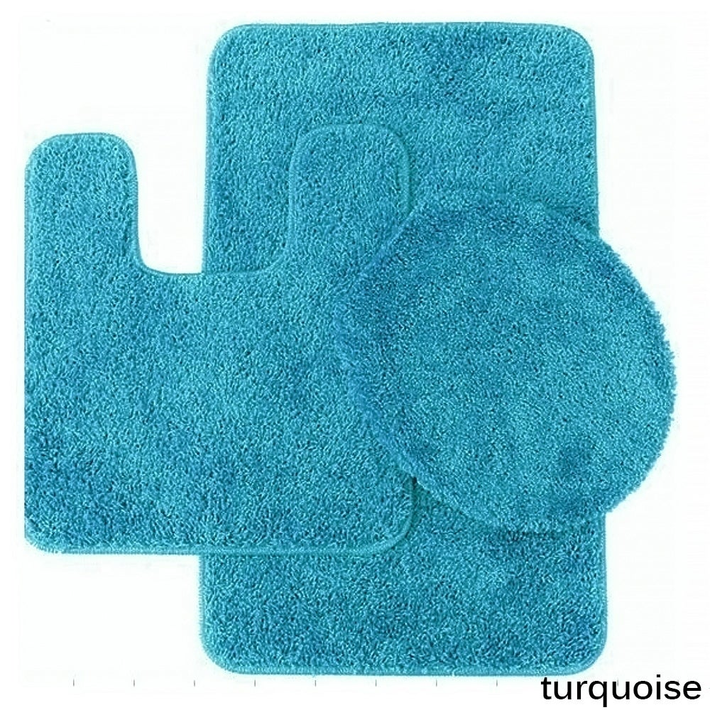 Shop Florence 3 Piece Bathroom Rug And Toilet Seat Cover Set  Assorted  Colors   On Sale   Free Shipping On Orders Over $45   Overstock.com    15053259