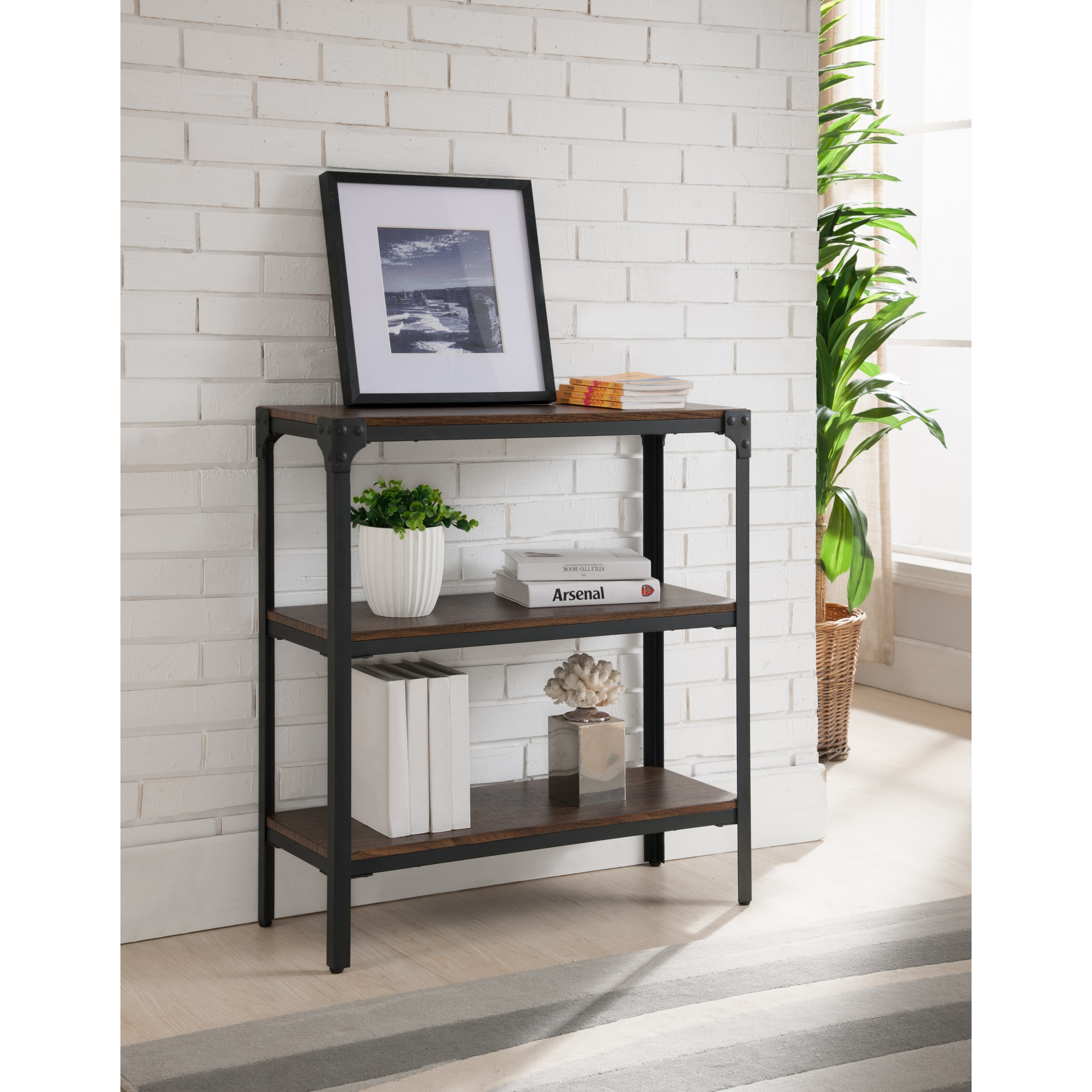 pine wood res inch shelf t metal media bookcases product etagere brown frame itm information bookcase ailis center