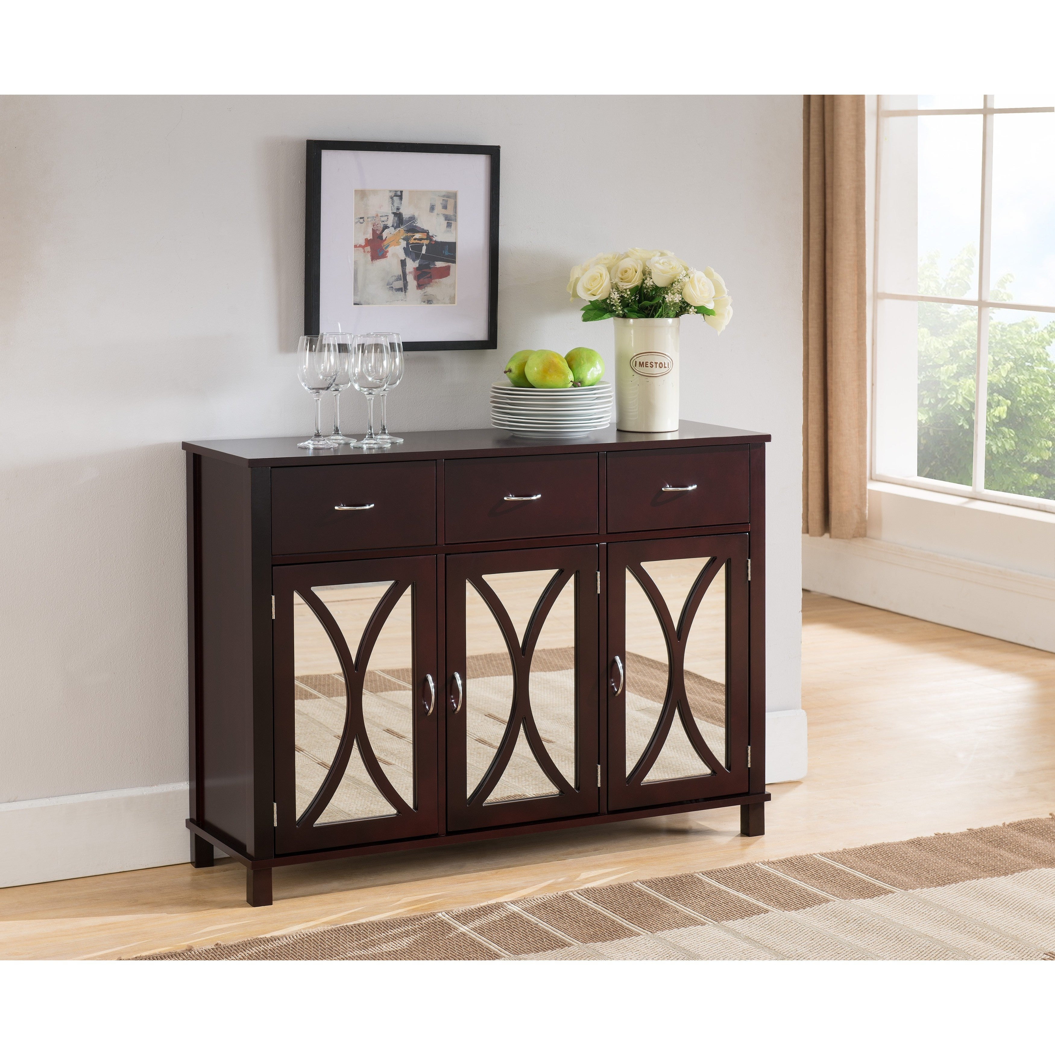 K and b furniture co inc espresso wood door and drawer console table