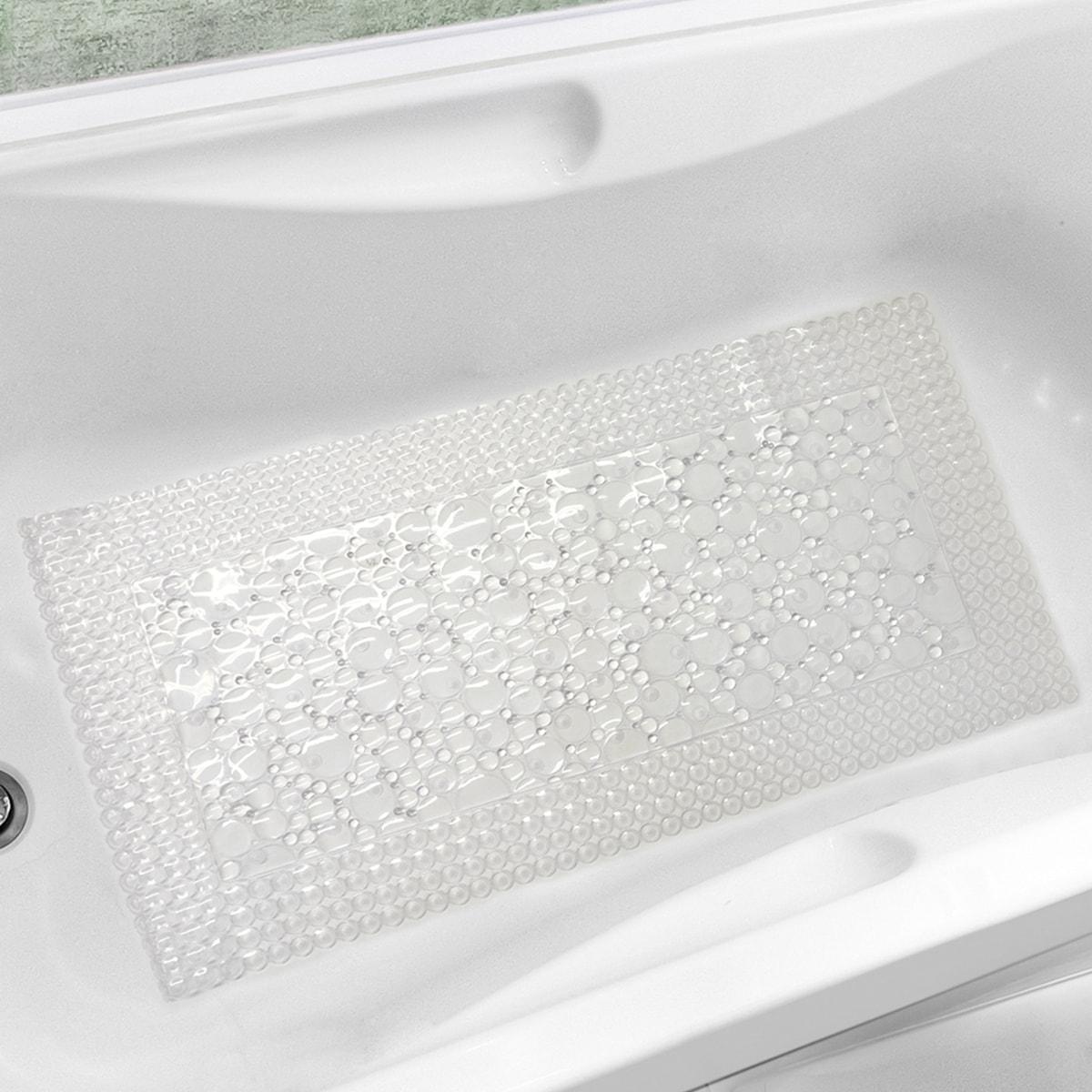 Shop Bubbles-N-Circles White or Clear Trim-Fit Tub Mat (20\