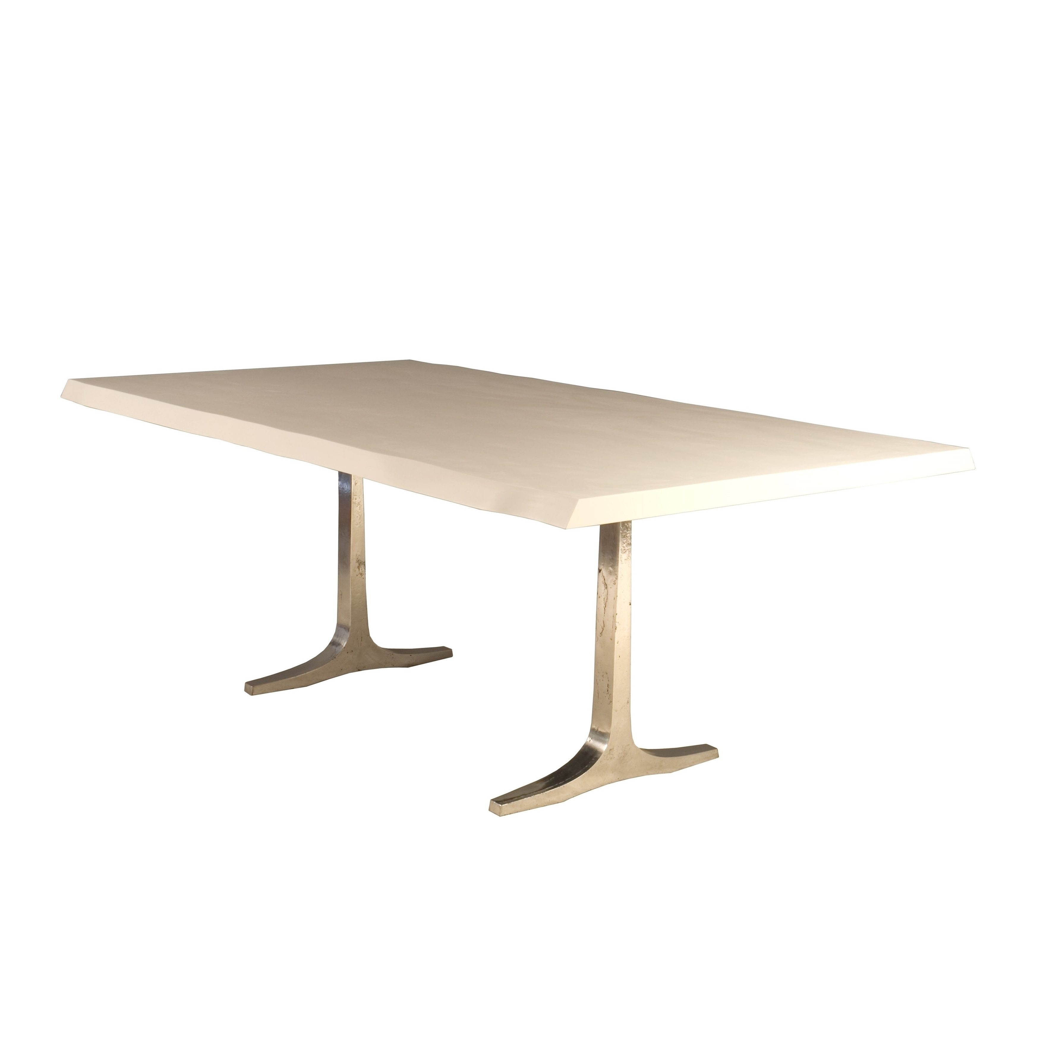 Saloom Apollo 42x96-inch Rectangular White Acrylic Wave Edge Top Custom  Dining Table with Trestle Base