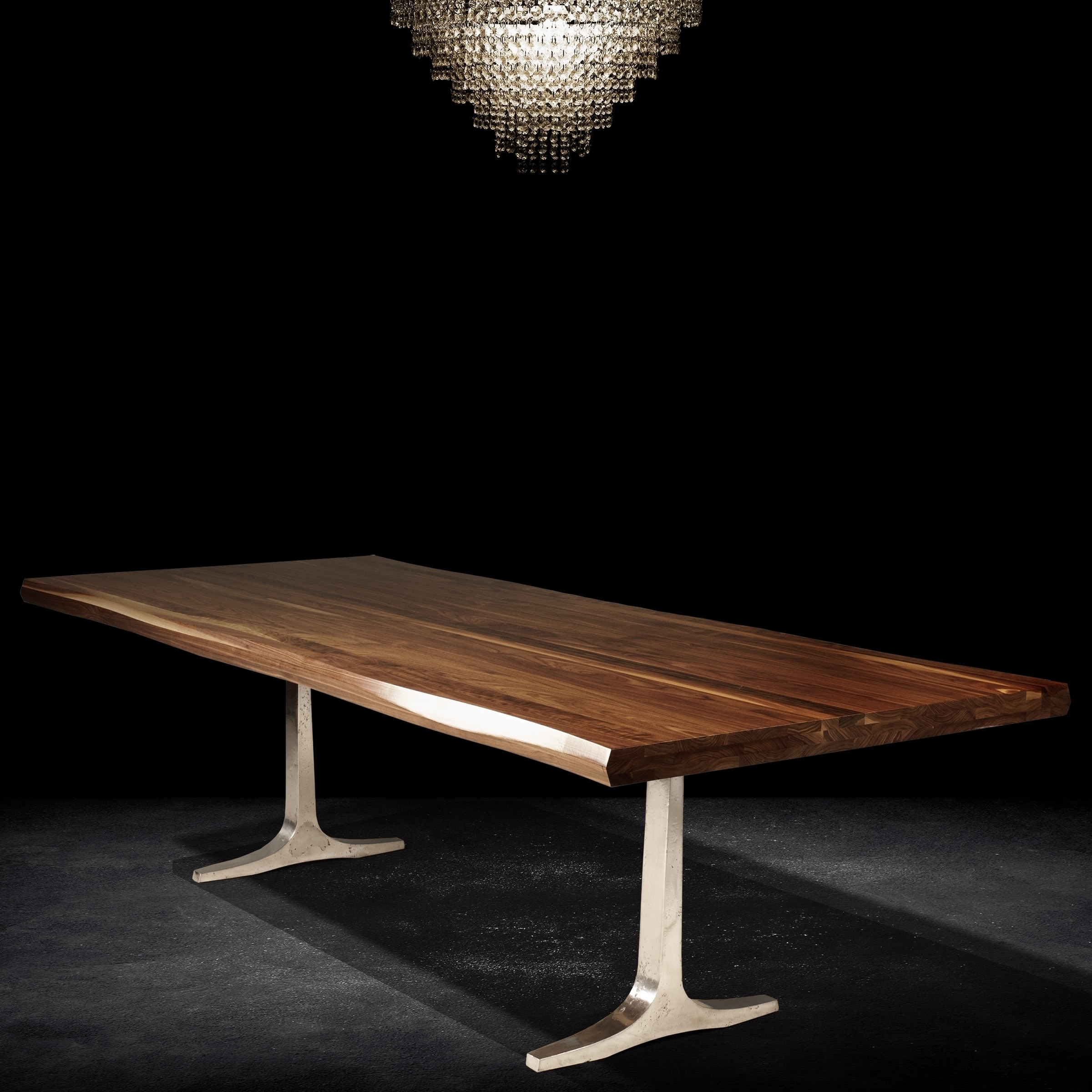 Shop saloom apollo 42x80 inch rectangular black walnut wave edge top custom dining table with trestle base brown free shipping today overstock com