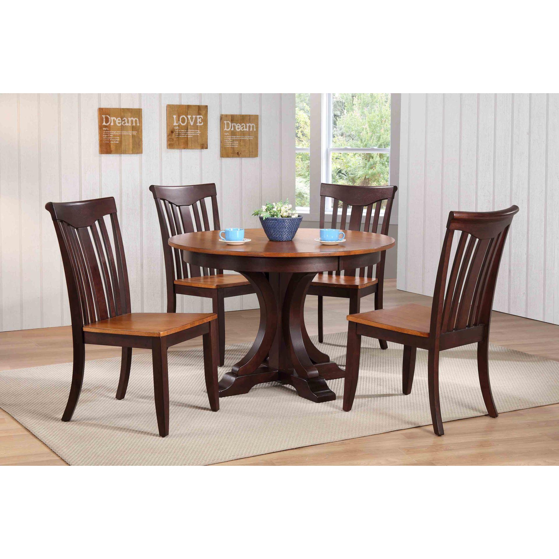 Shop iconic furniture company 45x45x63 deco whiskey mocha modern slat back 5 piece dining set free shipping today overstock com 15053663