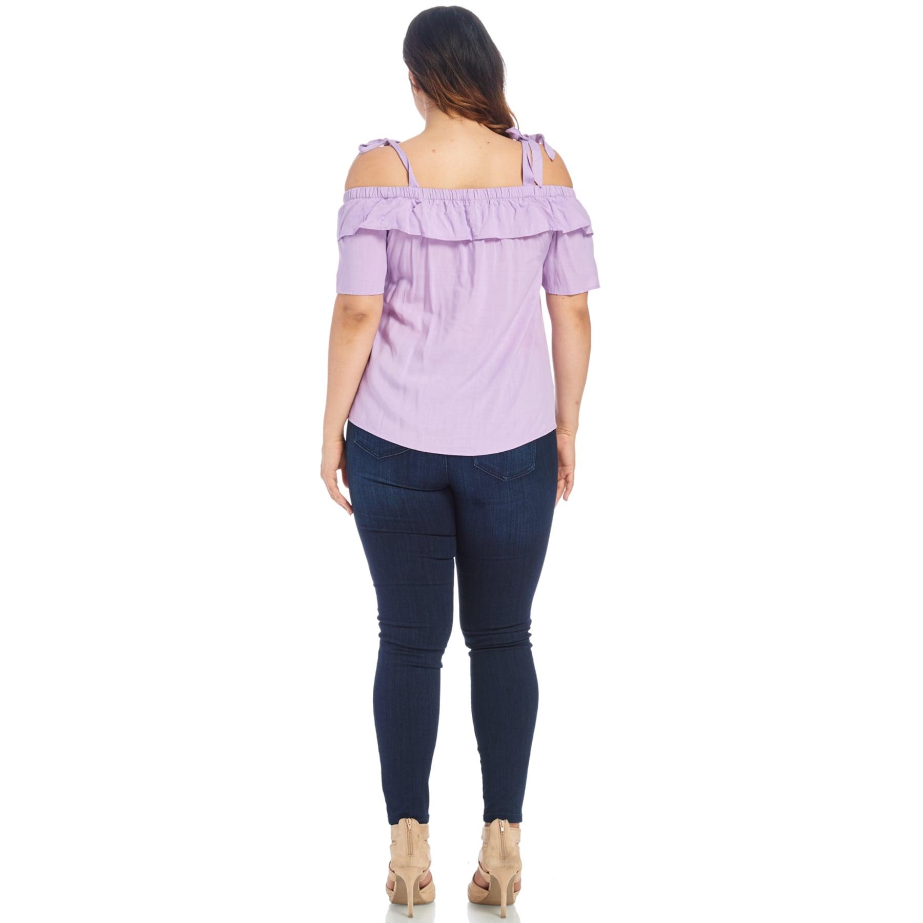 7e1e7e7a7cf Shop Xehar Women s Plus Size Sexy Elastic Shoulder Tie Blouse Top - Free  Shipping On Orders Over  45 - Overstock.com - 15060504