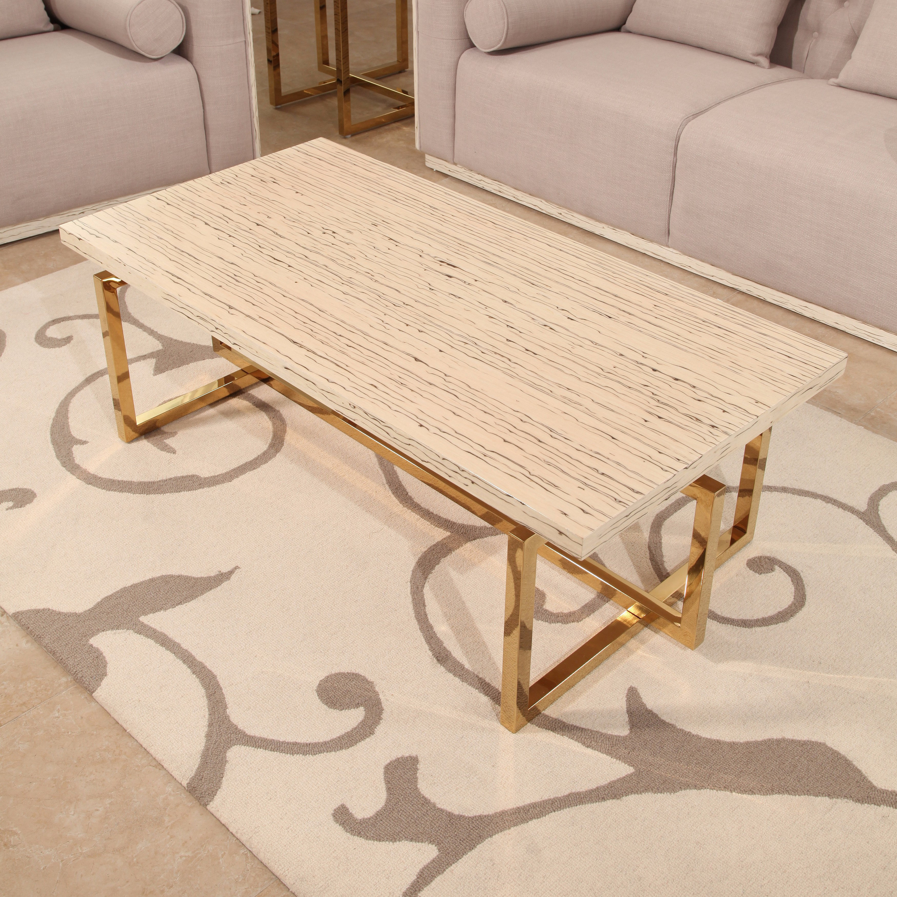 Shop Abbyson Archer Brass Finish Stainless Steel Coffee Table