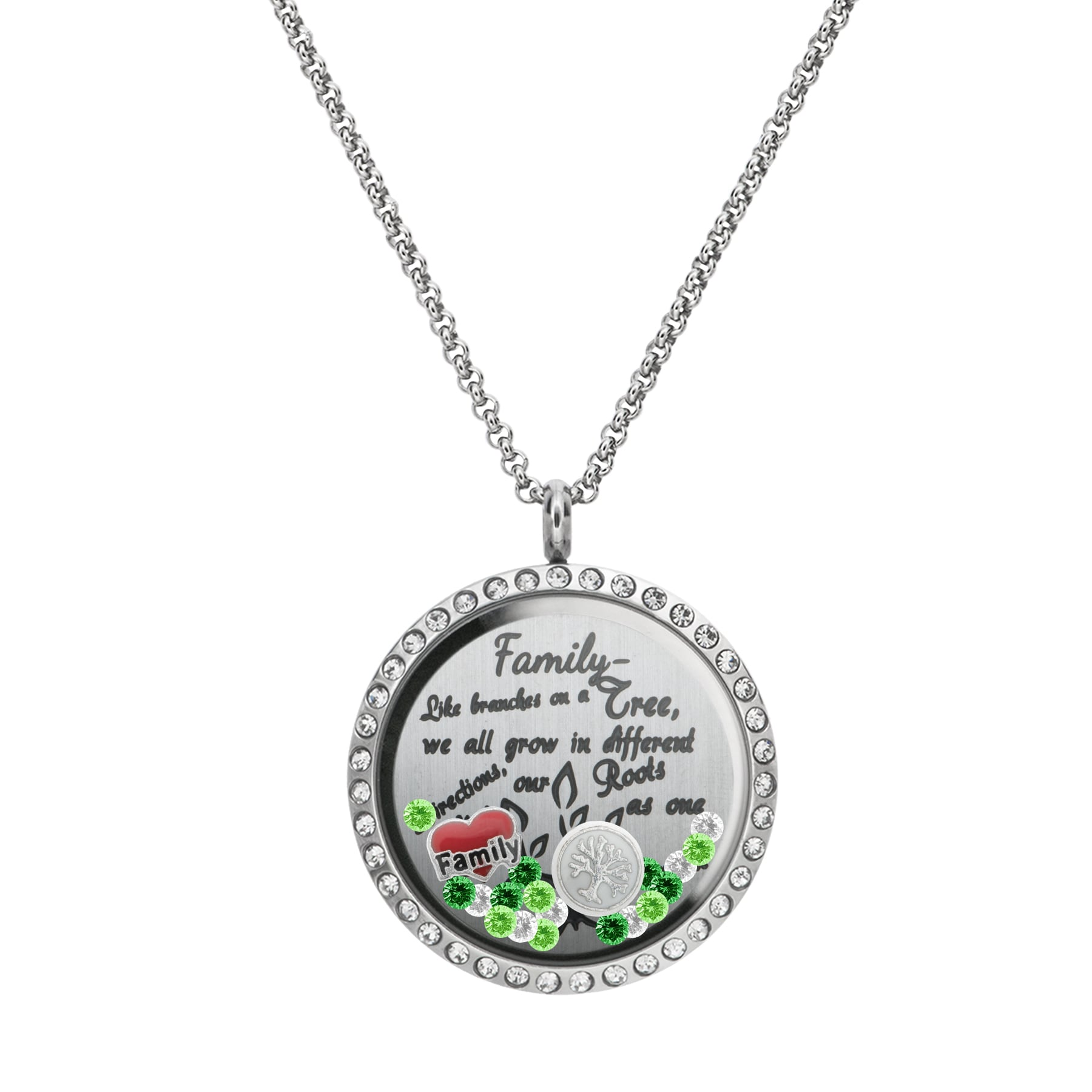 silver jewelry bling necklace family disc sterling forever pendant inches tree ayl
