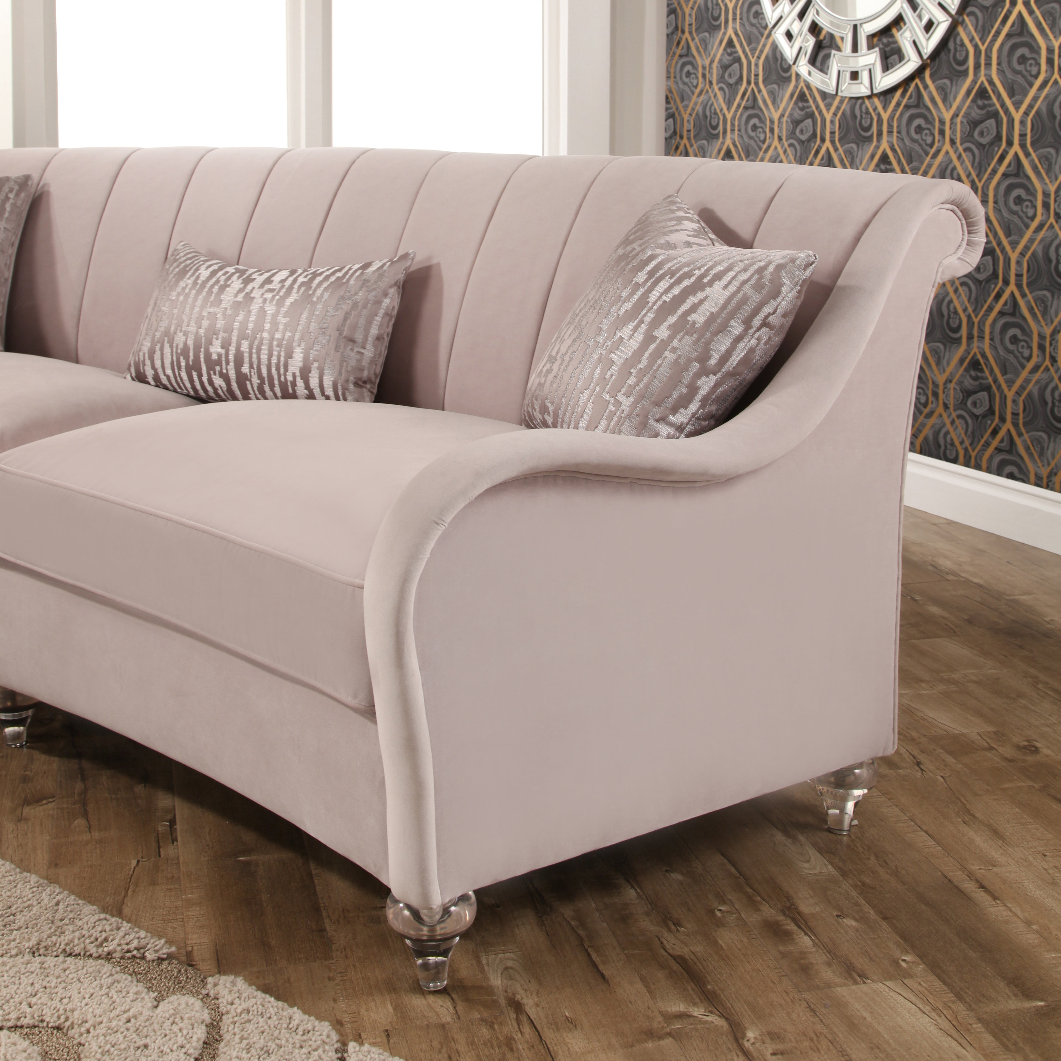 Abbyson Isadora Curved Velvet Sofa Free Shipping Today