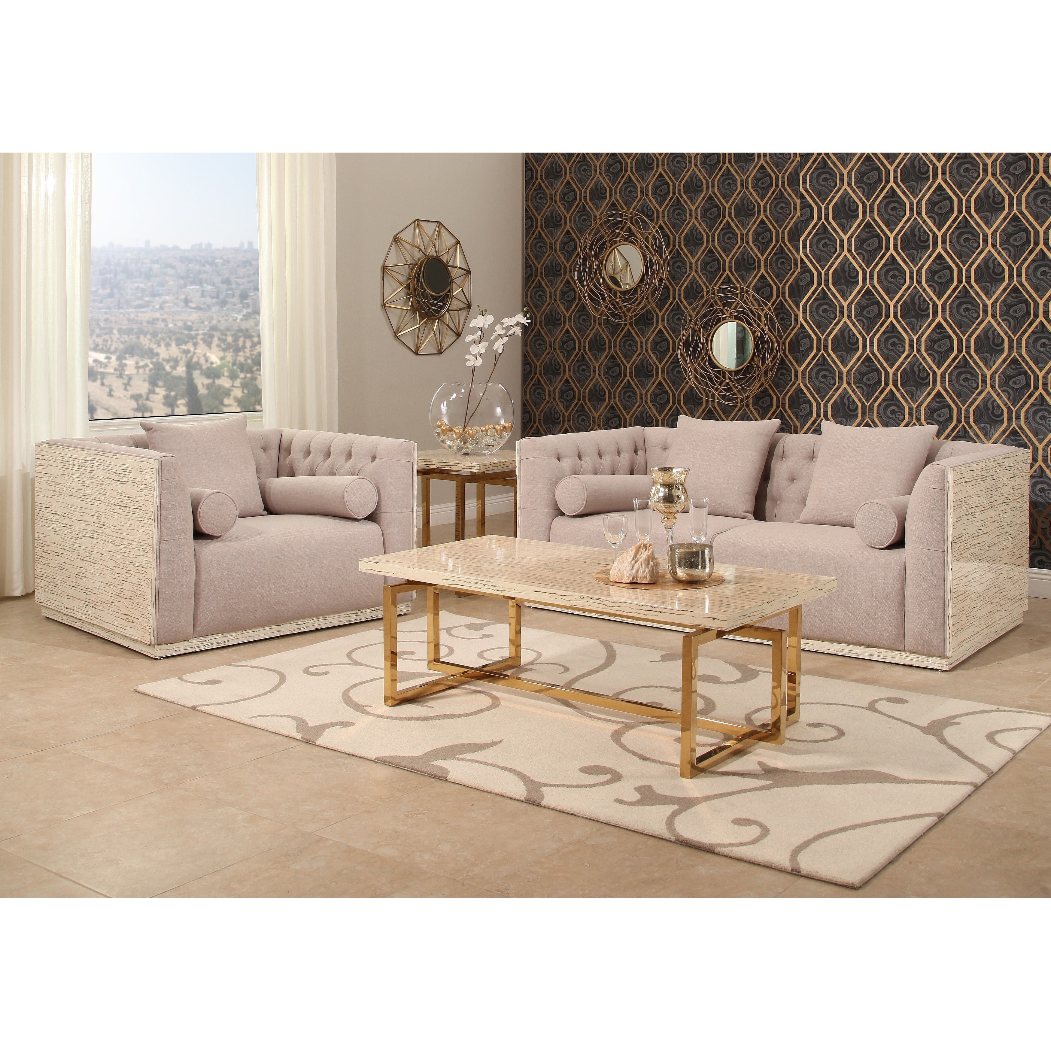 Abbyson Crystal 2 Piece Wood Shell Seating Set Free Shipping