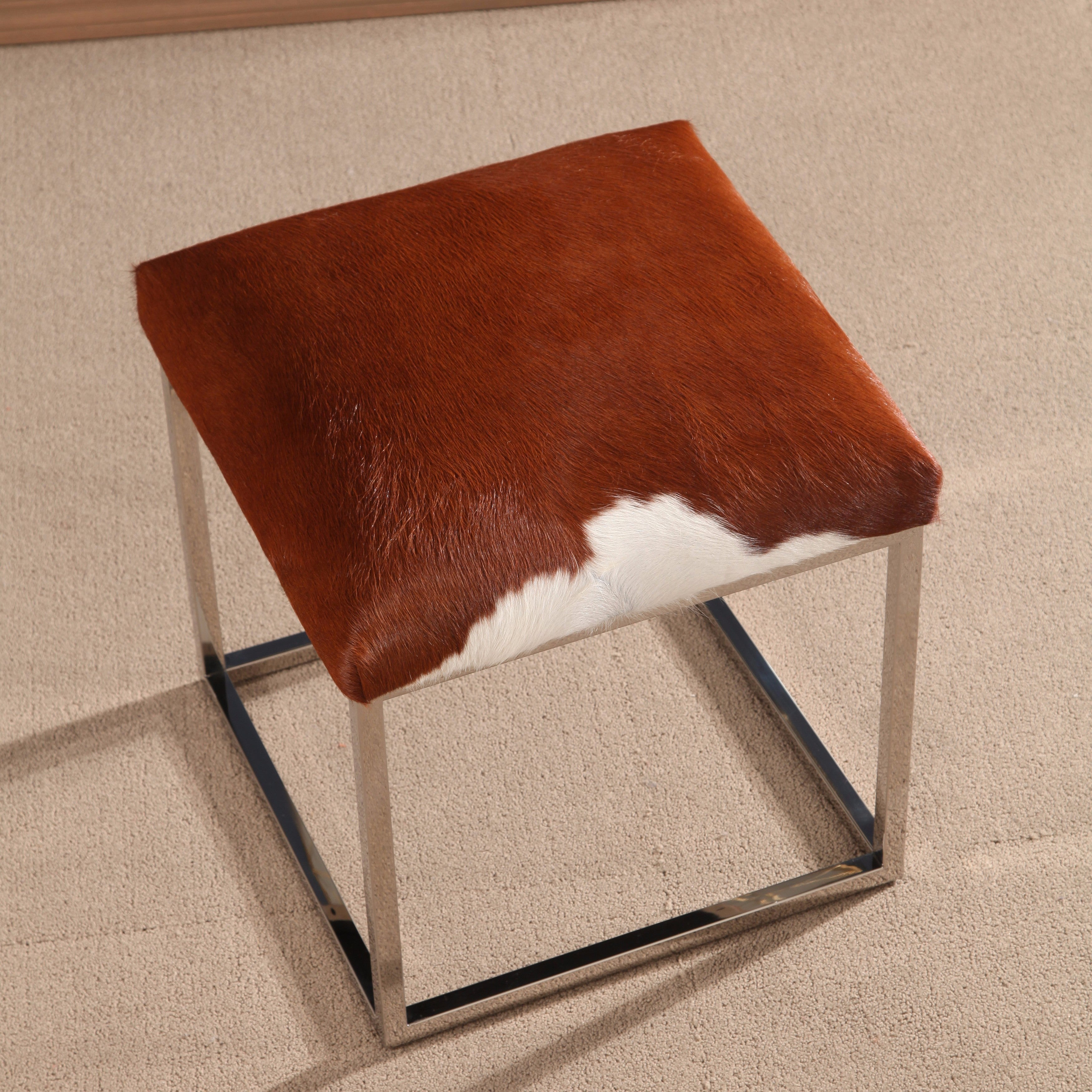 cheap furniture cowhide of ottoman faux image