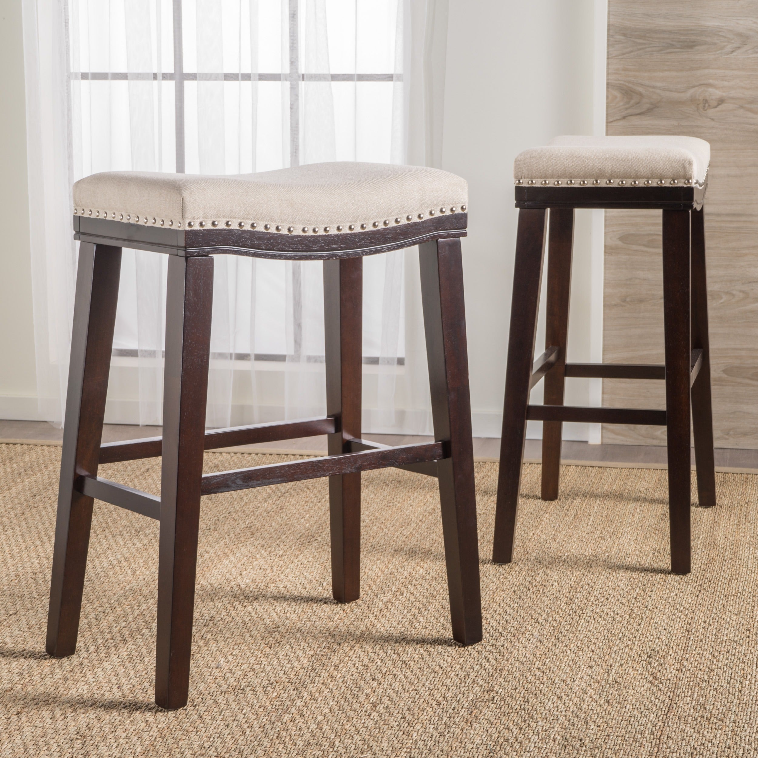 Rosalie 30 Inchsaddle Studded Fabric Barstool Set Of 2 By Christopher Knight Home On Free Shipping Today 15073026