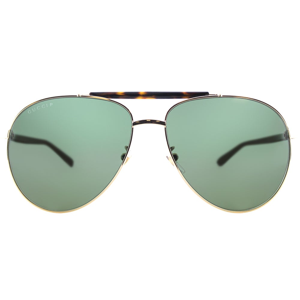 7a2cc6f6117 Shop Gucci GG 0014S 006 Gold Havana Metal Aviator Sunglasses with Green  Polarized Lenses - Free Shipping Today - Overstock - 15074575