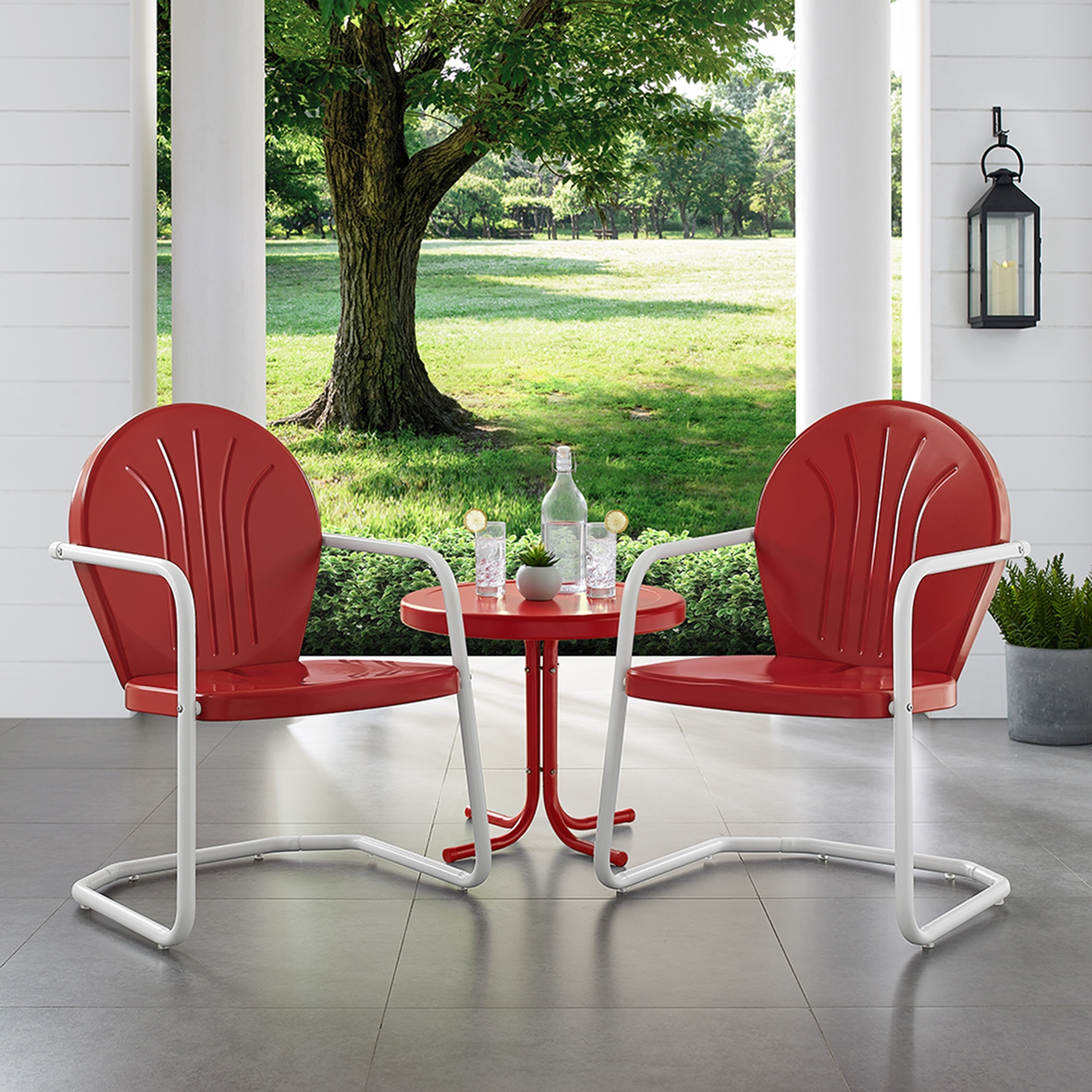 Griffith 3 Piece Metal Outdoor Conversation Seating Set Two Chairs In Red Finish With Side Table White