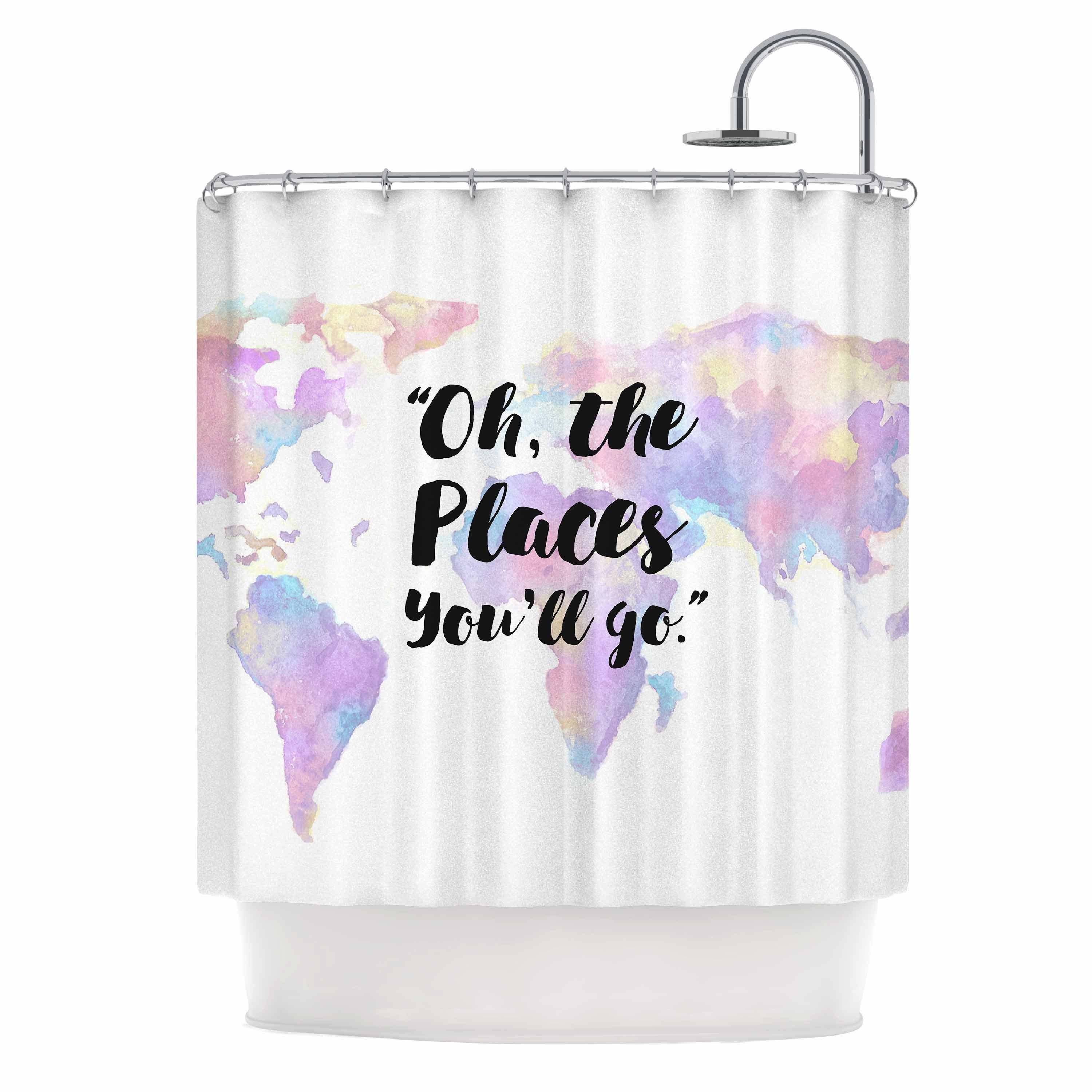 Shop KESS InHouse Kess Original The Places Youll Go Purple Yellow Shower Curtain 69x70