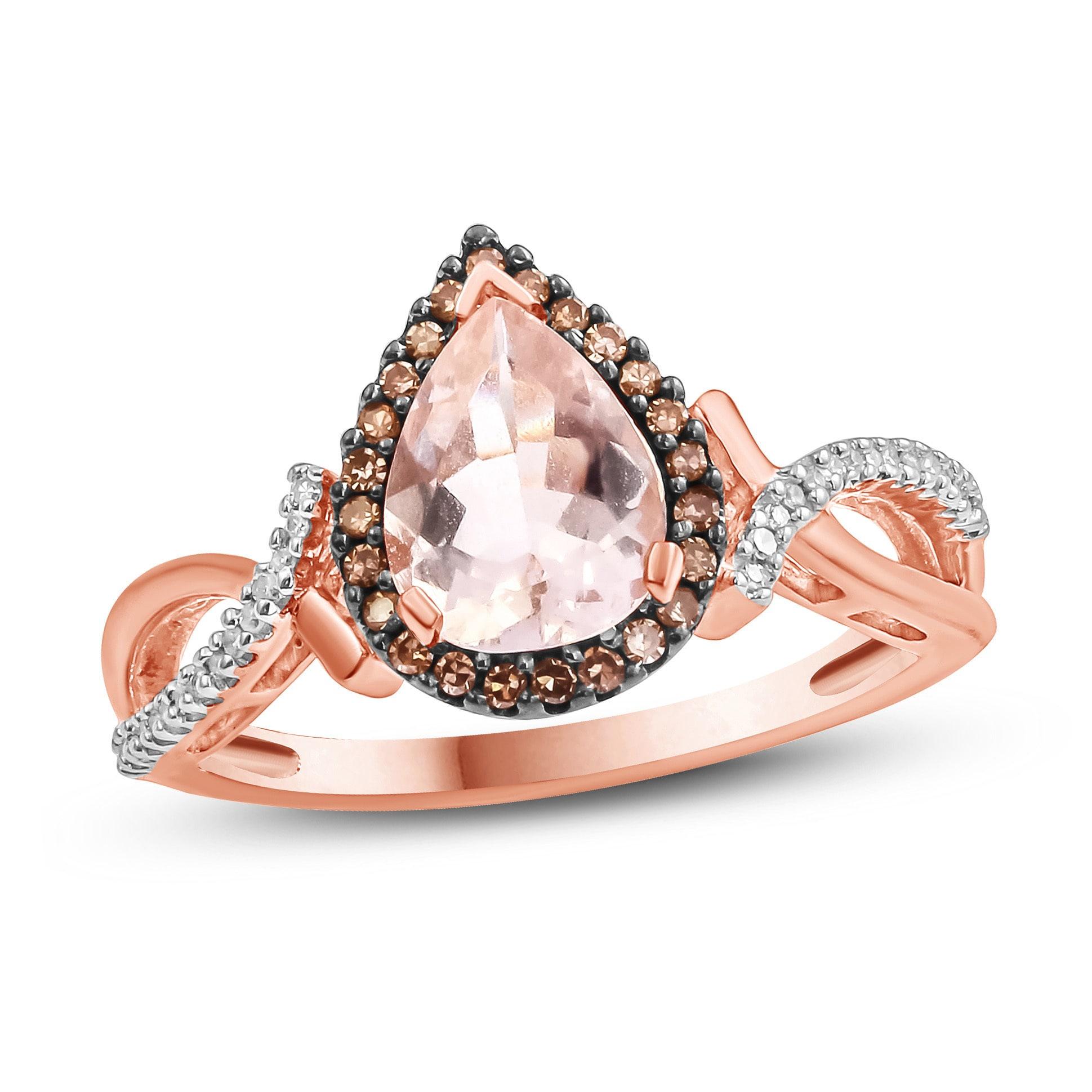 Shop 10k Rose Gold Morganite Engagement Ring Pink On Sale Free