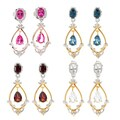 Michael Valitutti Palladium Silver Multi Shape Gemstone & White Sapphire Dangle Earrings