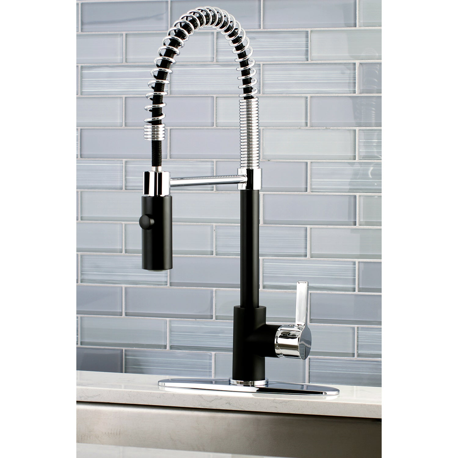 brushed kitchen faucet sink pull down finish nickel out