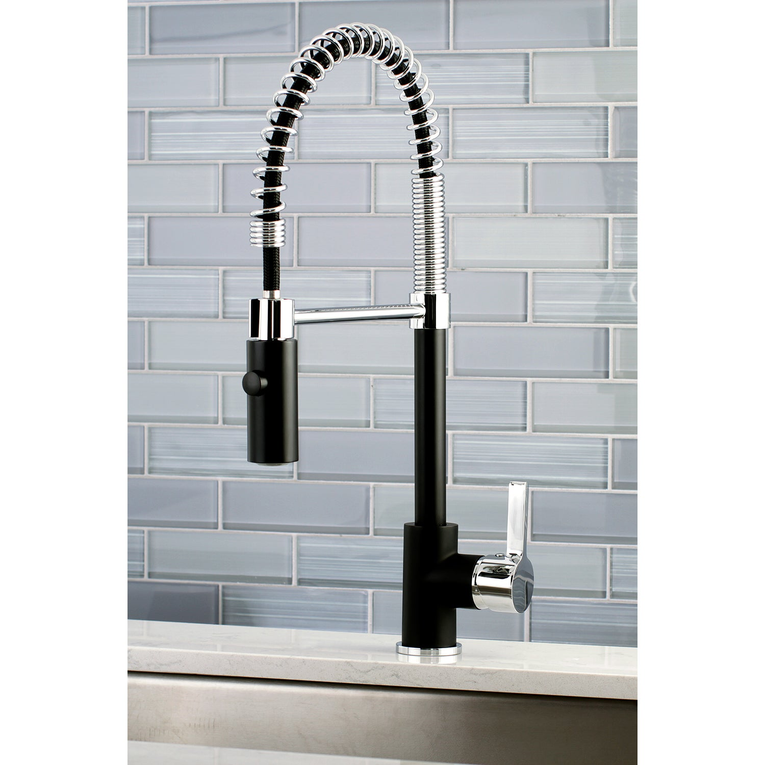 Kingston Brass Black/Chrome Brass Modern Spiral Pulldown Kitchen ...