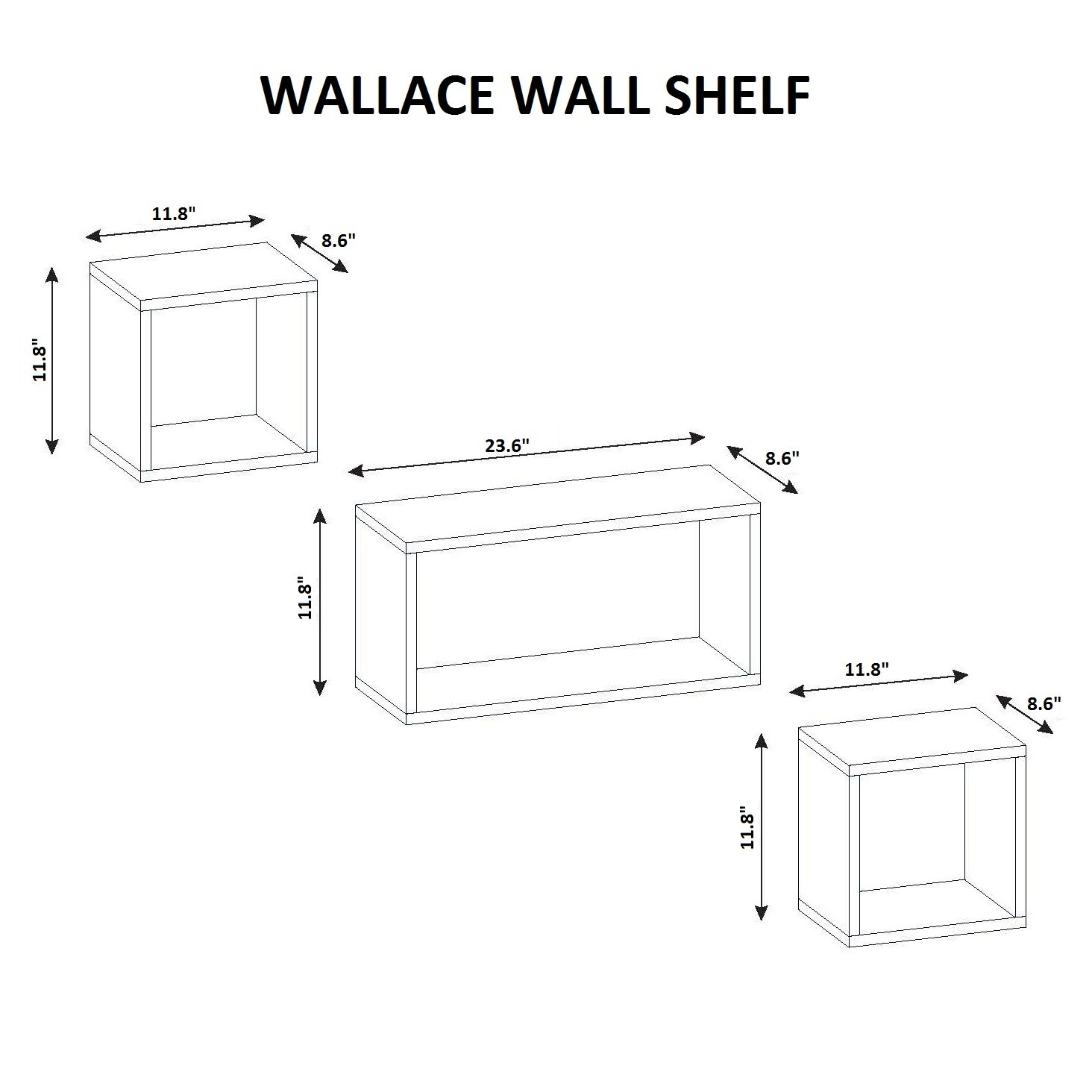Wallace two piece set modern minimalist wall shelf free shipping wallace two piece set modern minimalist wall shelf free shipping today overstock 21568919 ccuart Image collections